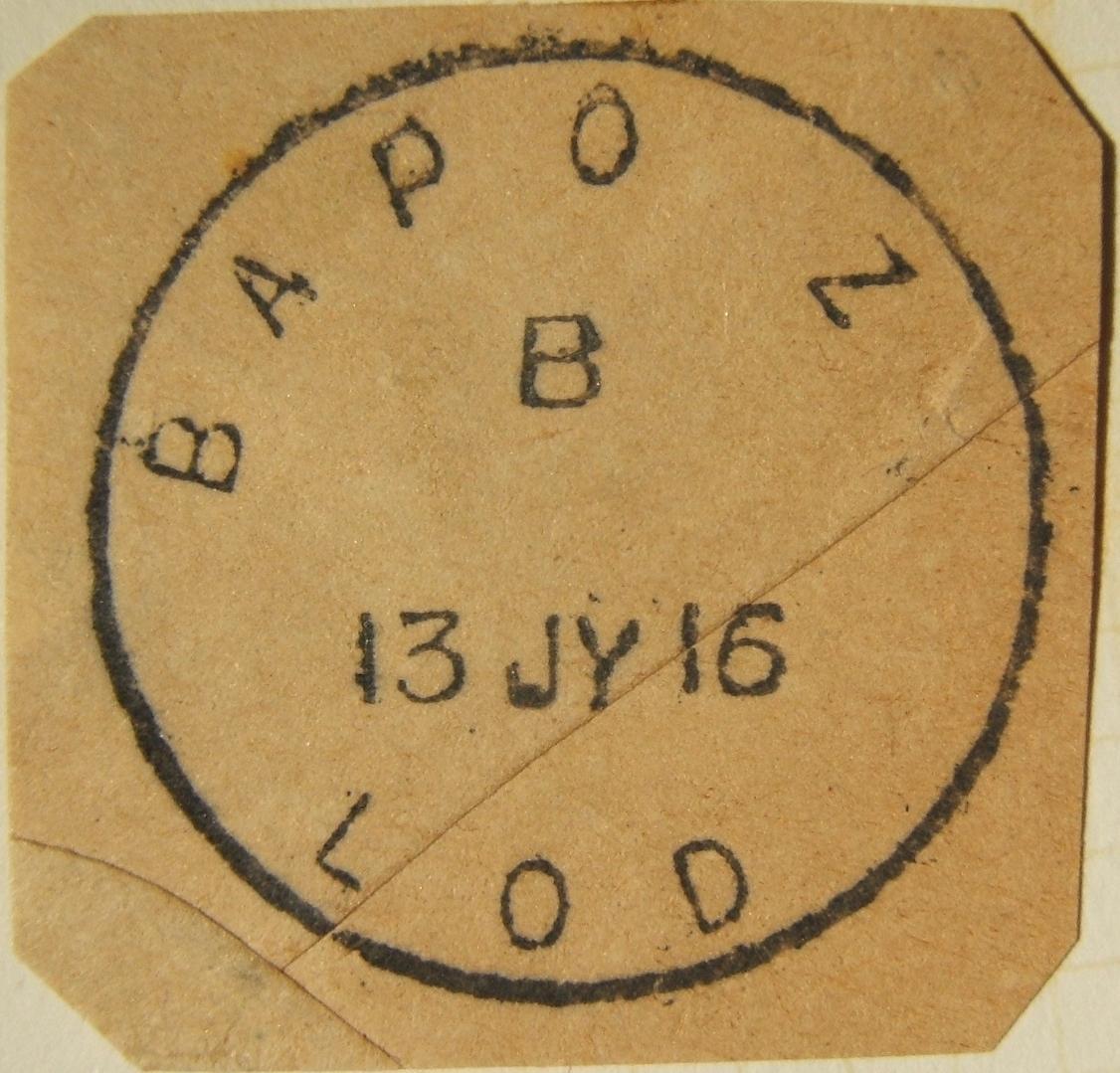 7/1916 WWI Egypt البريد البريطاني العسكري أقرب بريد إلكتروني معروف BAPO Z LOD ، على قطع