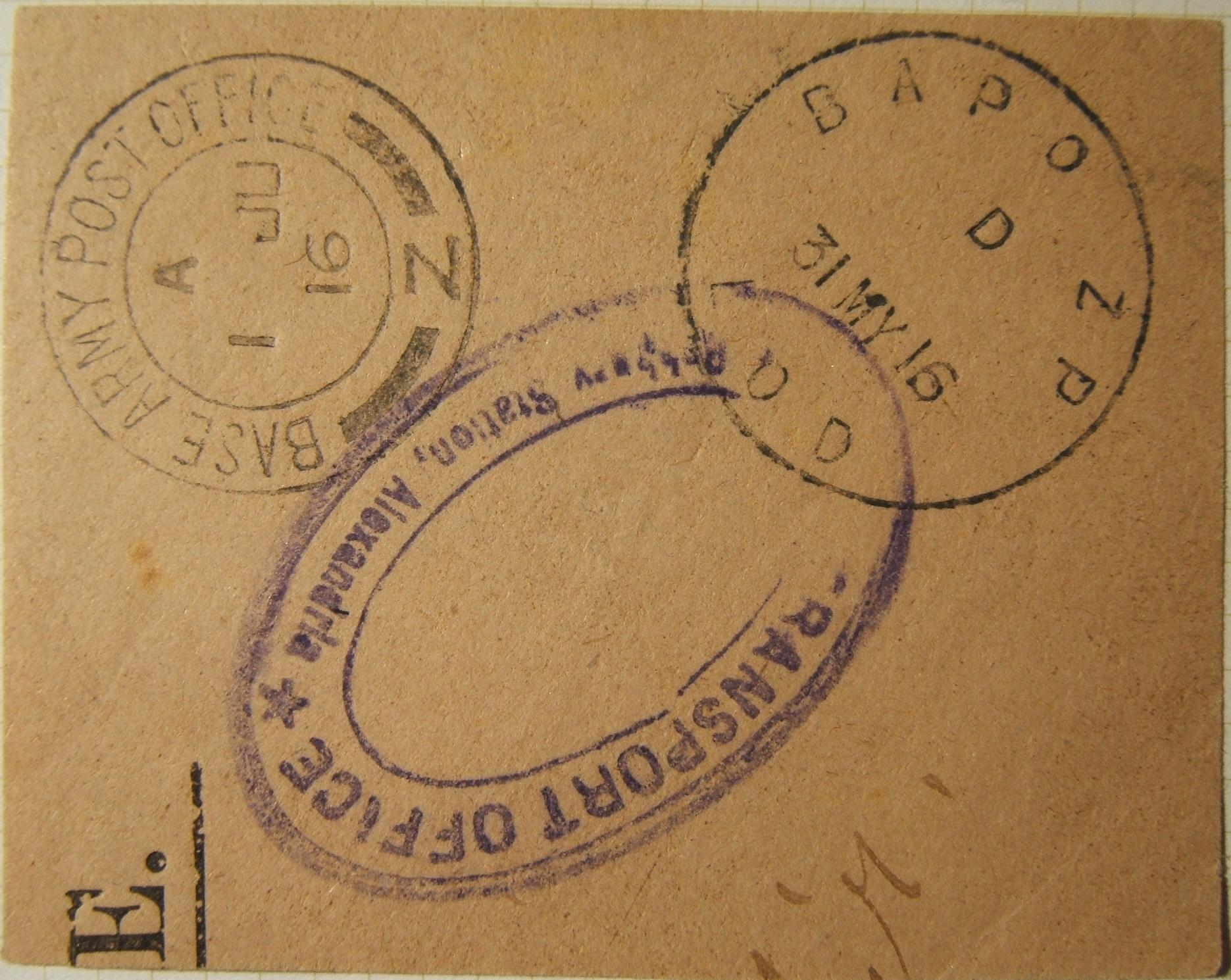 British WWI military mail in Egypt: 31 MY 1916 full strike of skeleton single dateline BAPO ZP LOD (local office delivery; ALEXANDRIA) pmk - unlisted in Proud, Sacher, KC & Firebra