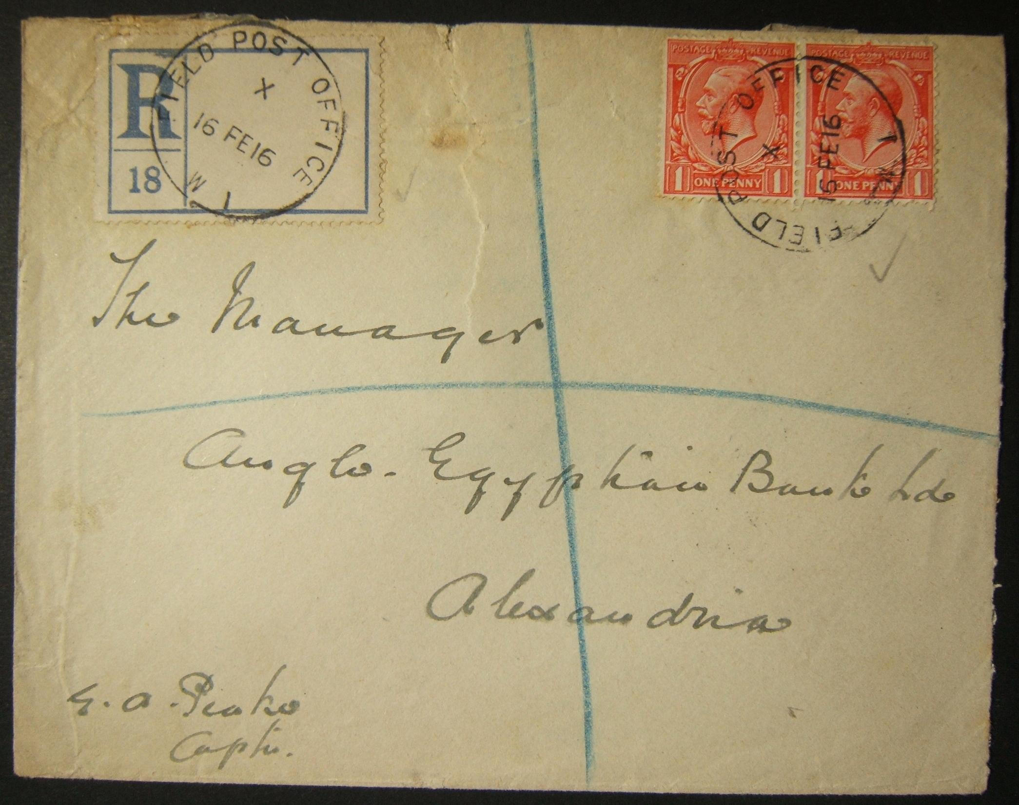2/1916 WWI Egypt franked & registered British military mail from FPO W1 to ALEXANDRIA