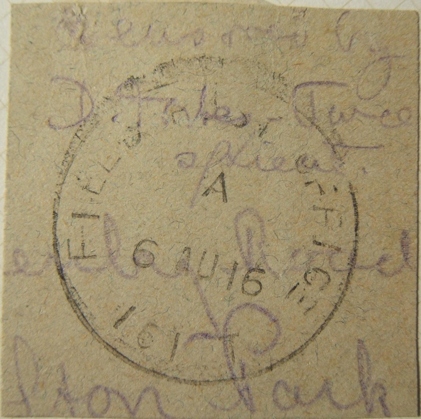 WWI Egypt British military mail earliest known 1916 FPO 161T postmark, on cutout