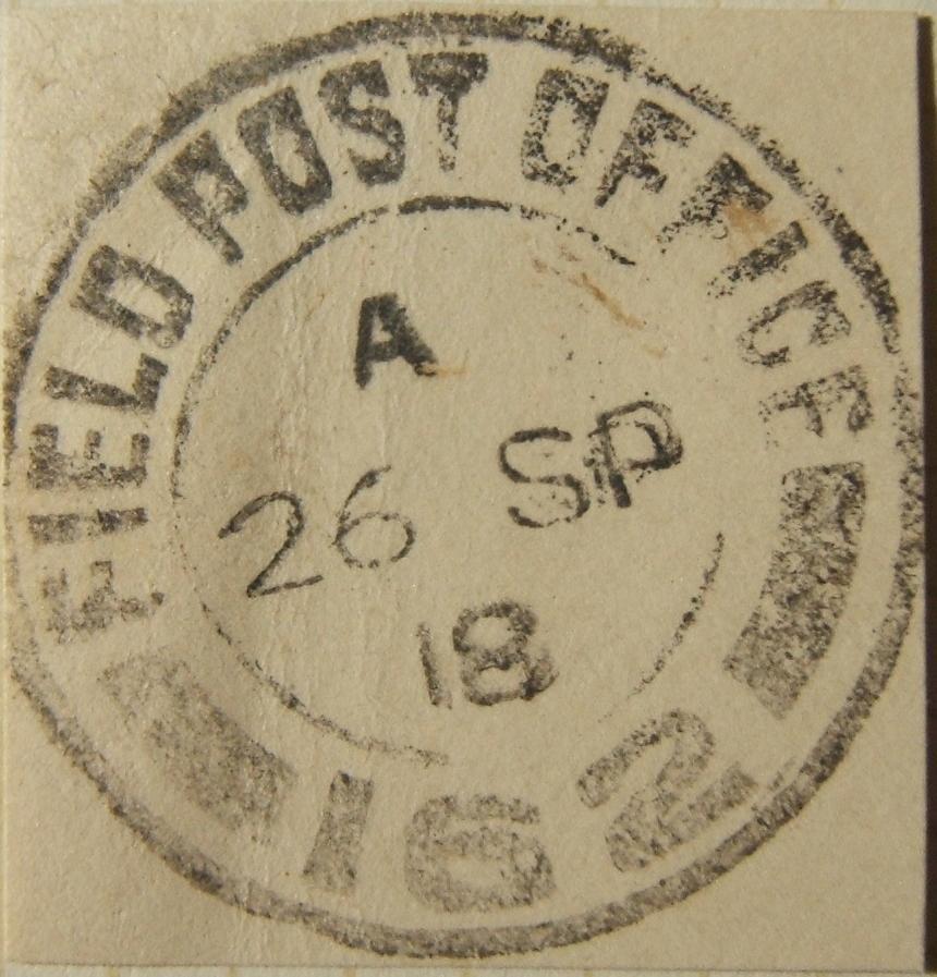 9/1918 WWI פלשתינה דואר צבאי צבאי FPO 162 מגידו חותמת דואר לא רשומה על ניתוק