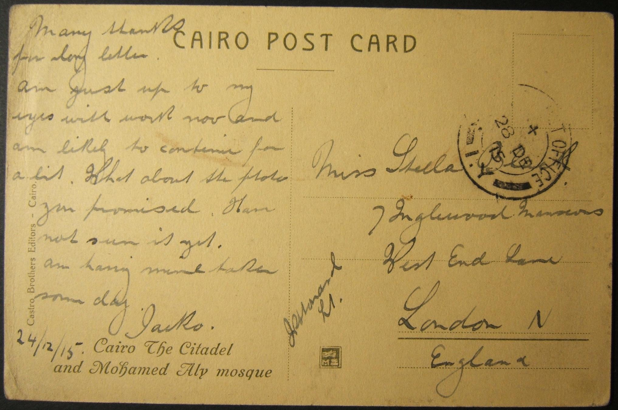 MEF British WWI military mail in Egypt: 28 DE 1915 stampless (OAS) ppc of Cairo Citadel ex FPO 1Y (1 South Midland Mtd Bgd at MENA CAMP, Cairo) to LONDON, tied by DC DS as Proud-D2