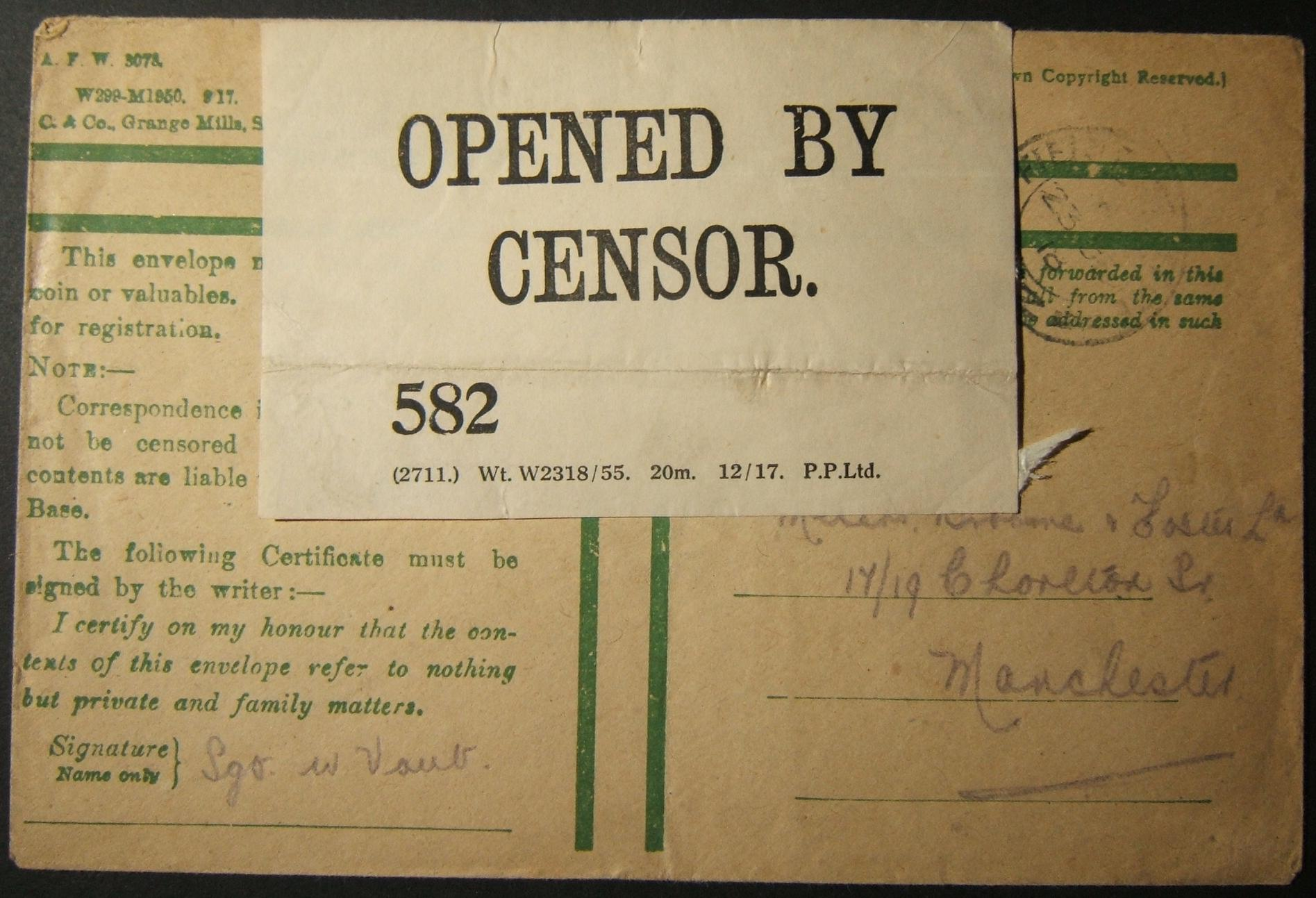 1918 post-WWI unfranked British military mail from FPO 1Z to UK opened/inspected by censor