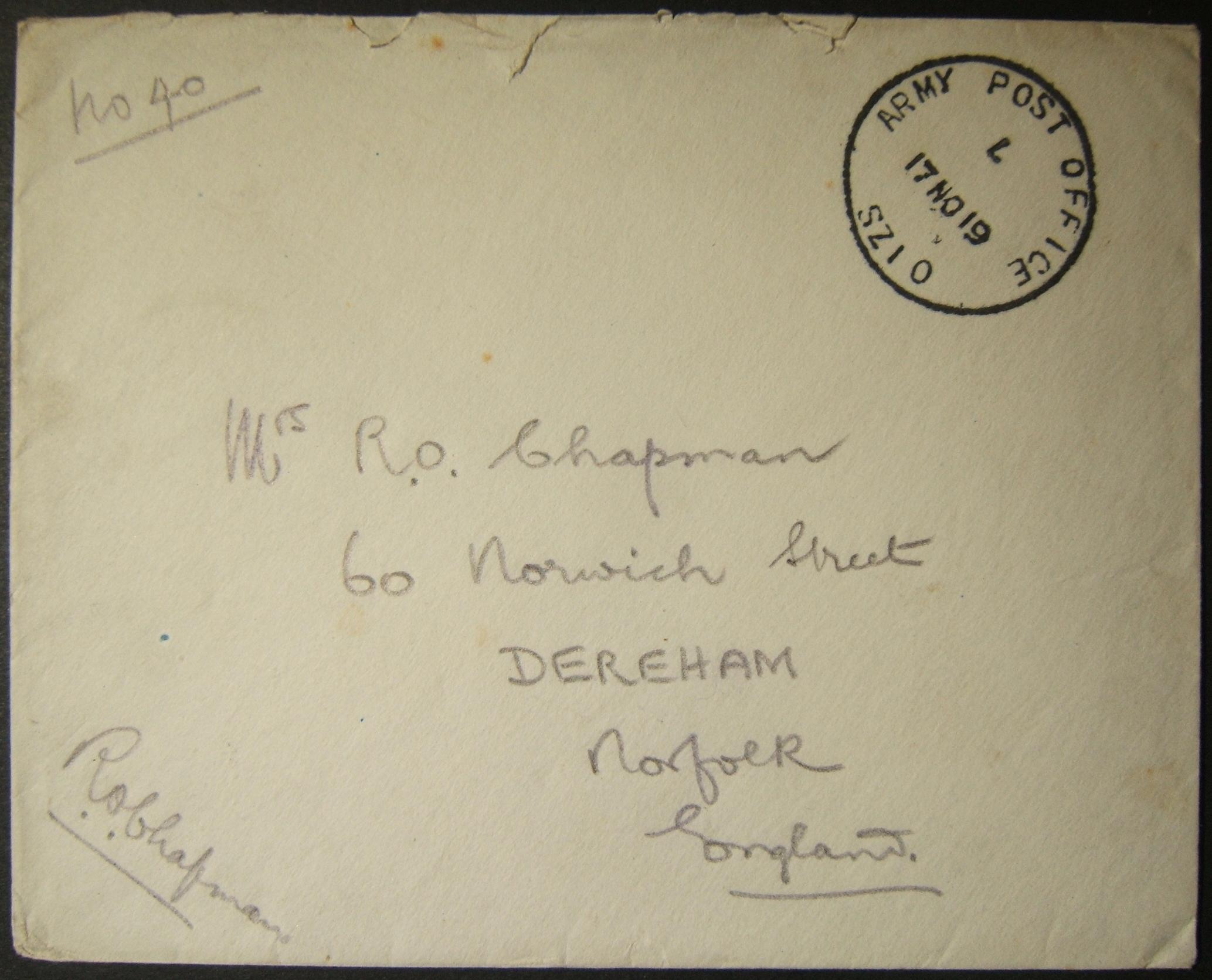 11/1919 WWI Egypt British military mail with APO SZ 10 postmark past latest known date of use