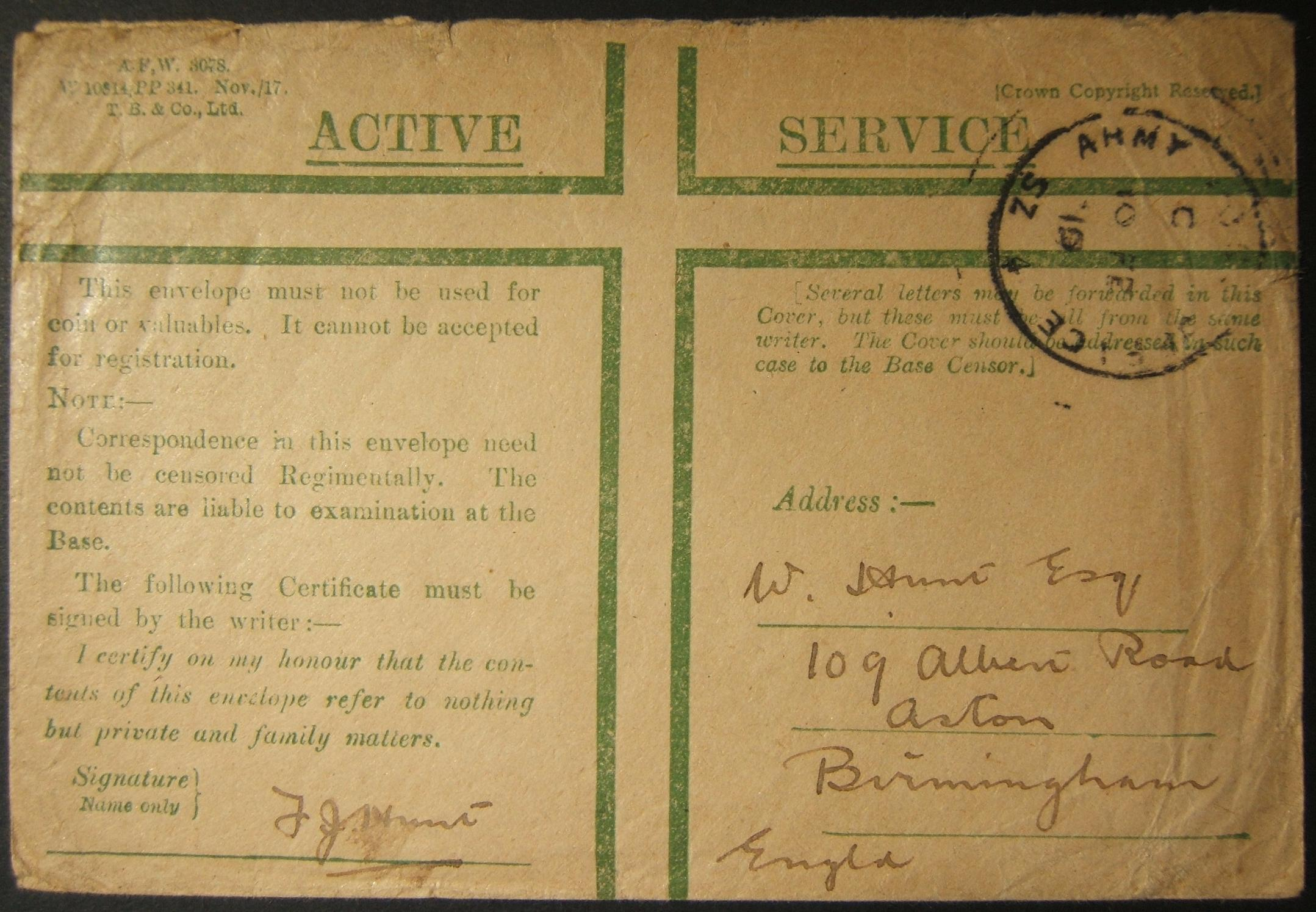 2/1917 WWI Egypt British military mail with unrecorded APO SZ 4 ISMAILIA postmark
