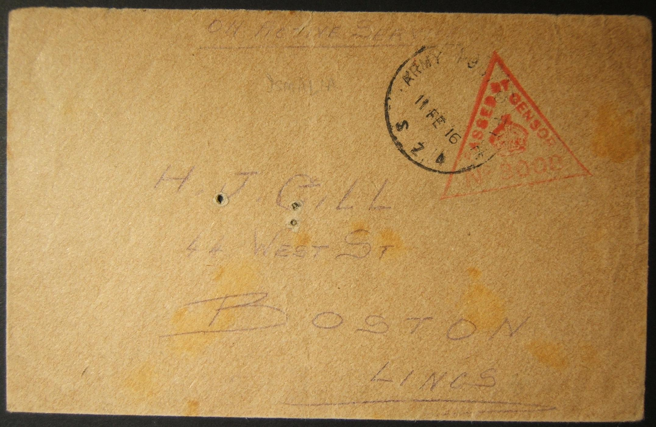 2/1916 WWI Egypt British military mail with earliest known use of APO SZ 4 postmark