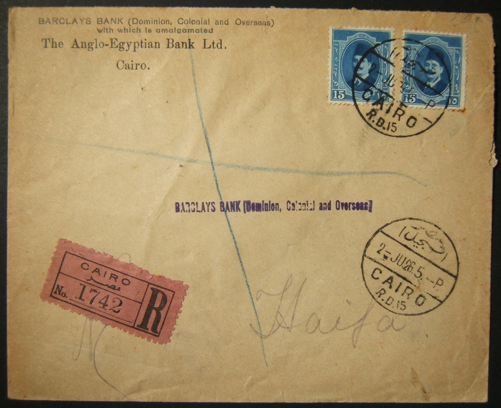 2 JUNE 1926 reg. comm cv on Barclays Bank business stationary ex CAIRO to HAIFA, franked 30pi and tied by full strike of Cairo RB15 pmk (and again in field); b/s REGISTERED HAIFA u