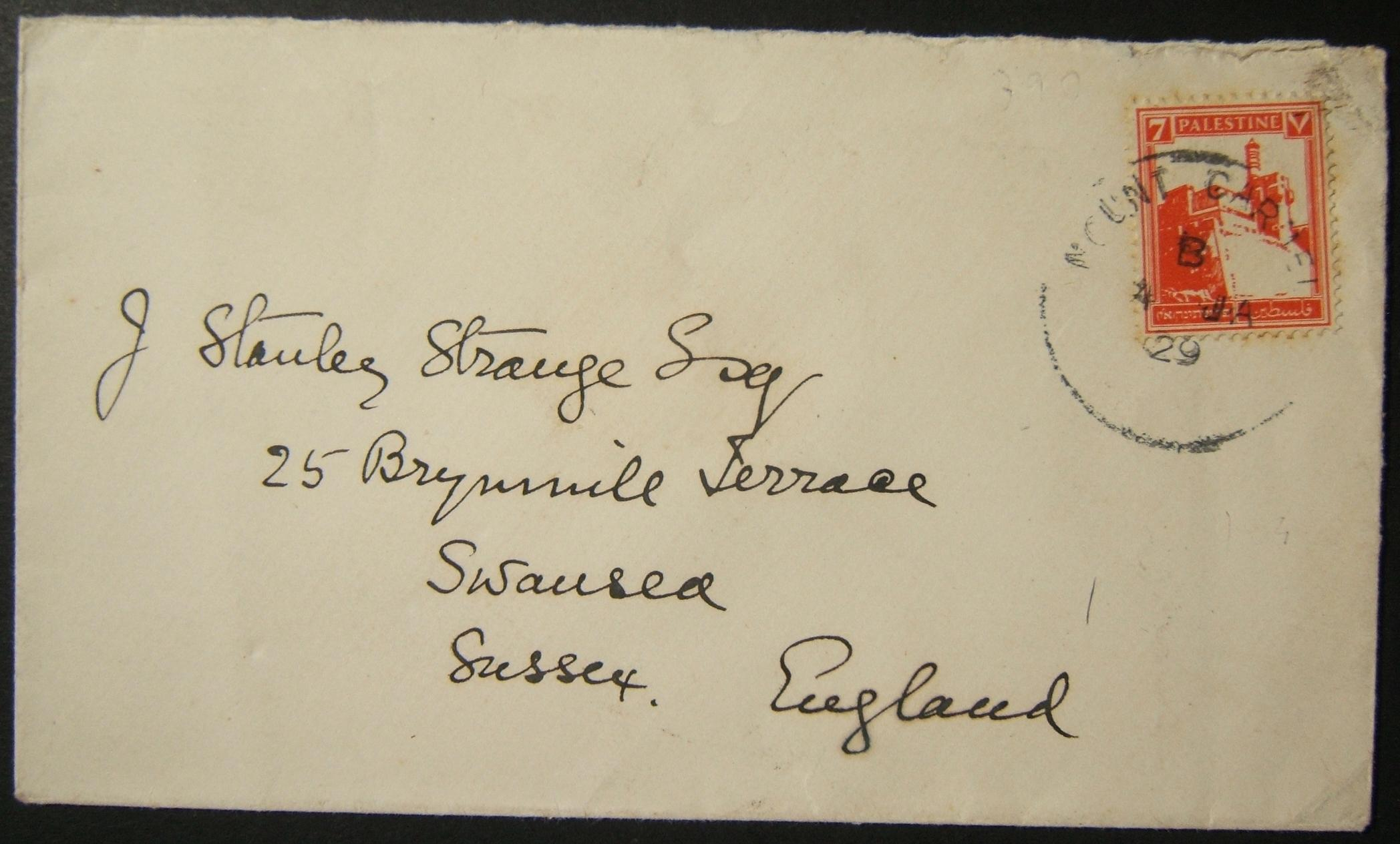 1/1929 غير موثقة هيفاء MOUNT CARMEL ختم البريد على البريد إلى المملكة المتحدة - قطعة اكتشاف