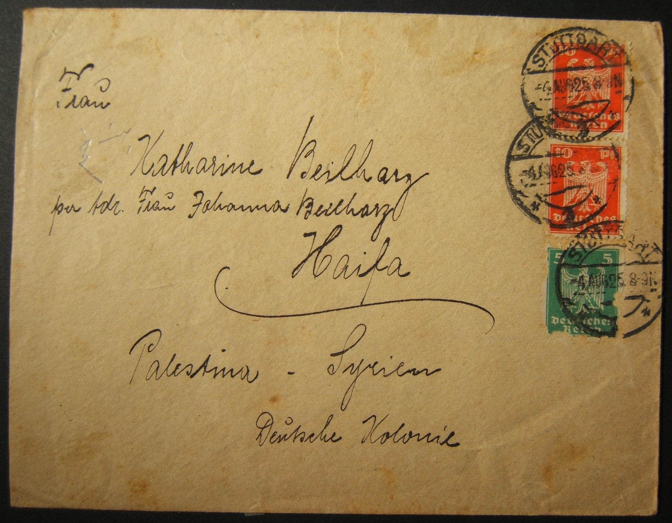 8/1925 1st day use of HAIFA machine cancel GD-87 on back of incoming German mail