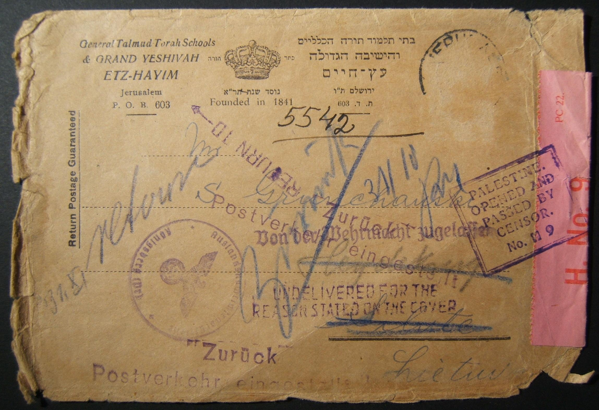 Wartime outbound civilian mail: Sept-Oct 1939 comm cv on Etz Hayim Yeshiva stationary (marked