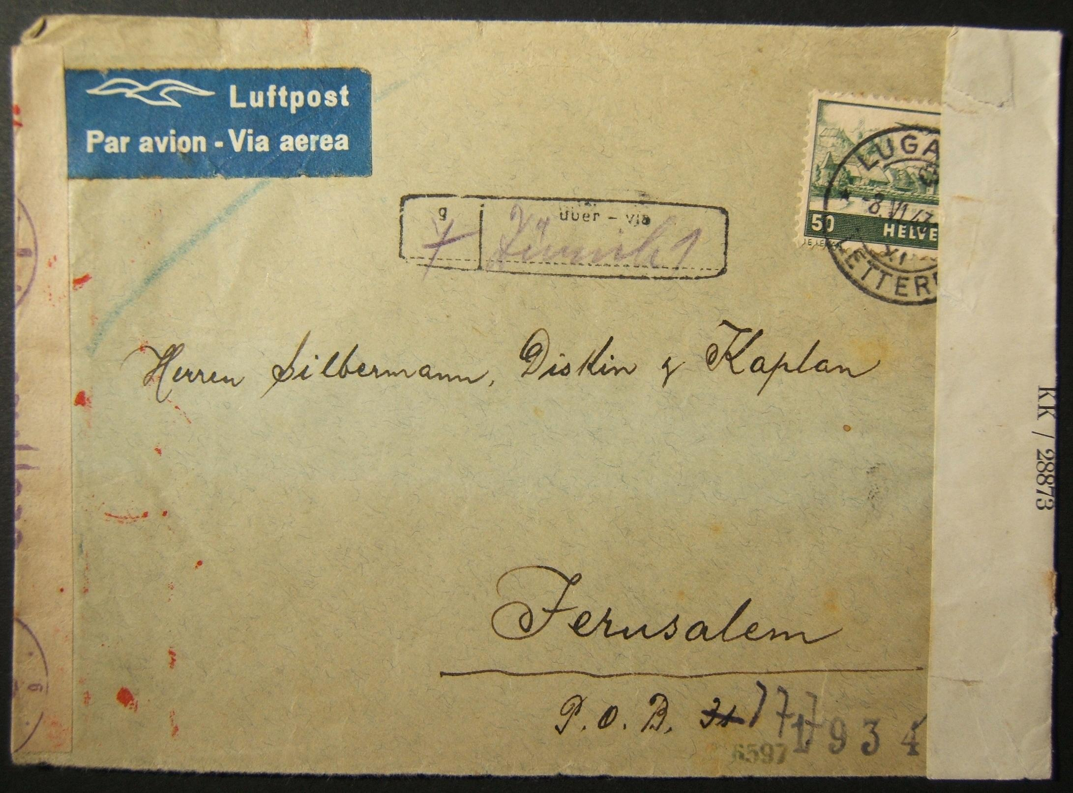 Wartime incoming civilian mail: 8 VI 1943 airmail cv ex LUGANO to JERUSALEM, franked 50Rp (40Rp total postage for 5gr incl 10Rp for airmail + 10Rp additional weight) and marked for