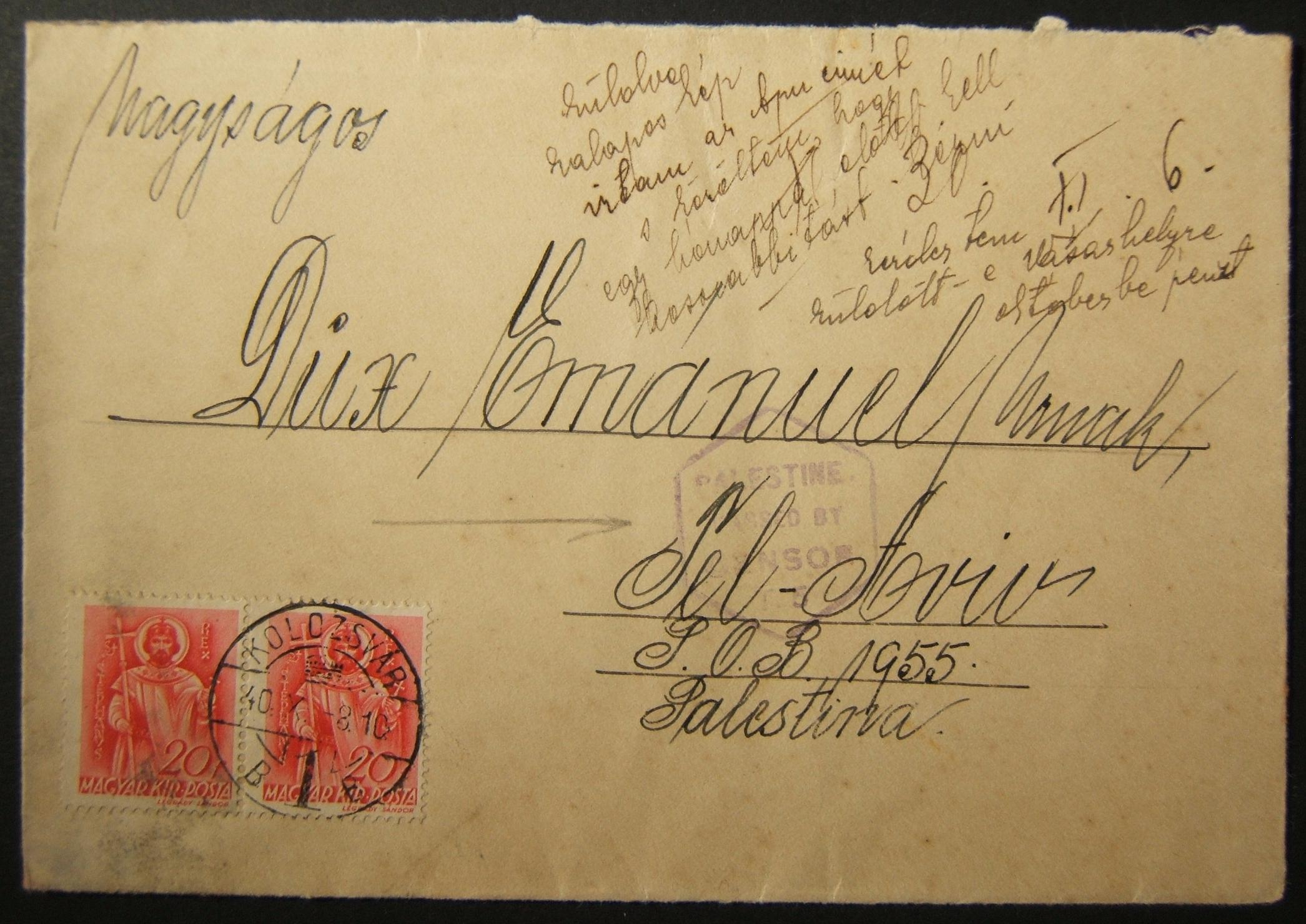 WWII/Holocaust era Jewish mail from Hungarian occupied KLAUSENBURG to TEL AVIV
