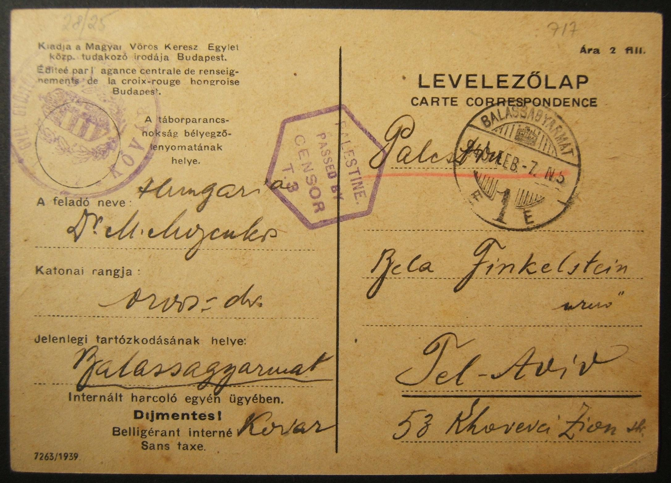 WWII/Holocaust era Red Cross mail from Hungarian occupied Slovakian town to TEL AVIV