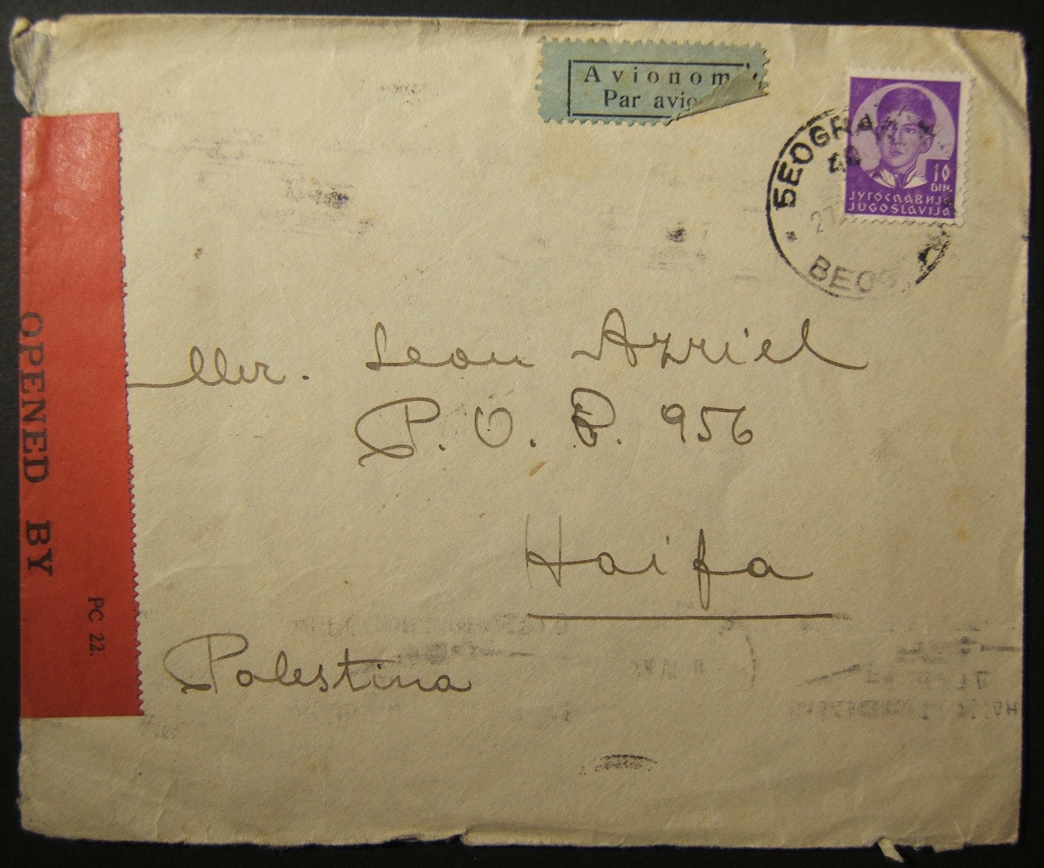 27-06-1940 zensierte Luftpost aus Jugoslawien nach HAIFA, wahrscheinlich über Aeroput & Imperial Airlines