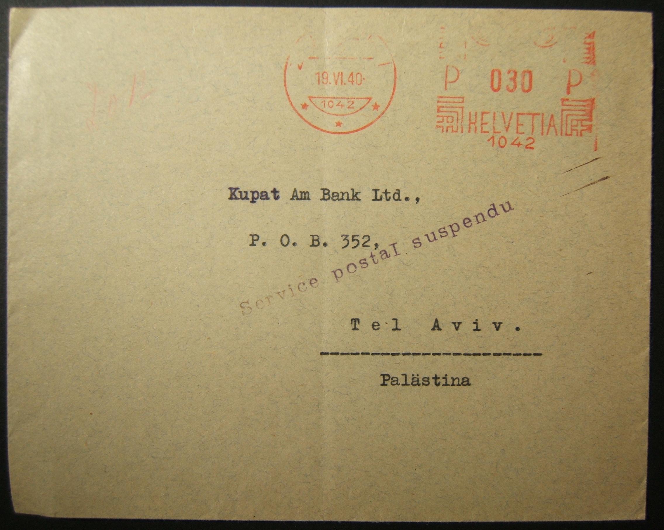19-06-1940 الحرب العالمية الثانية: علقت فرنسا سقوط خدمة البريد من زوريخ إلى تل أبيب عبر فرنسا
