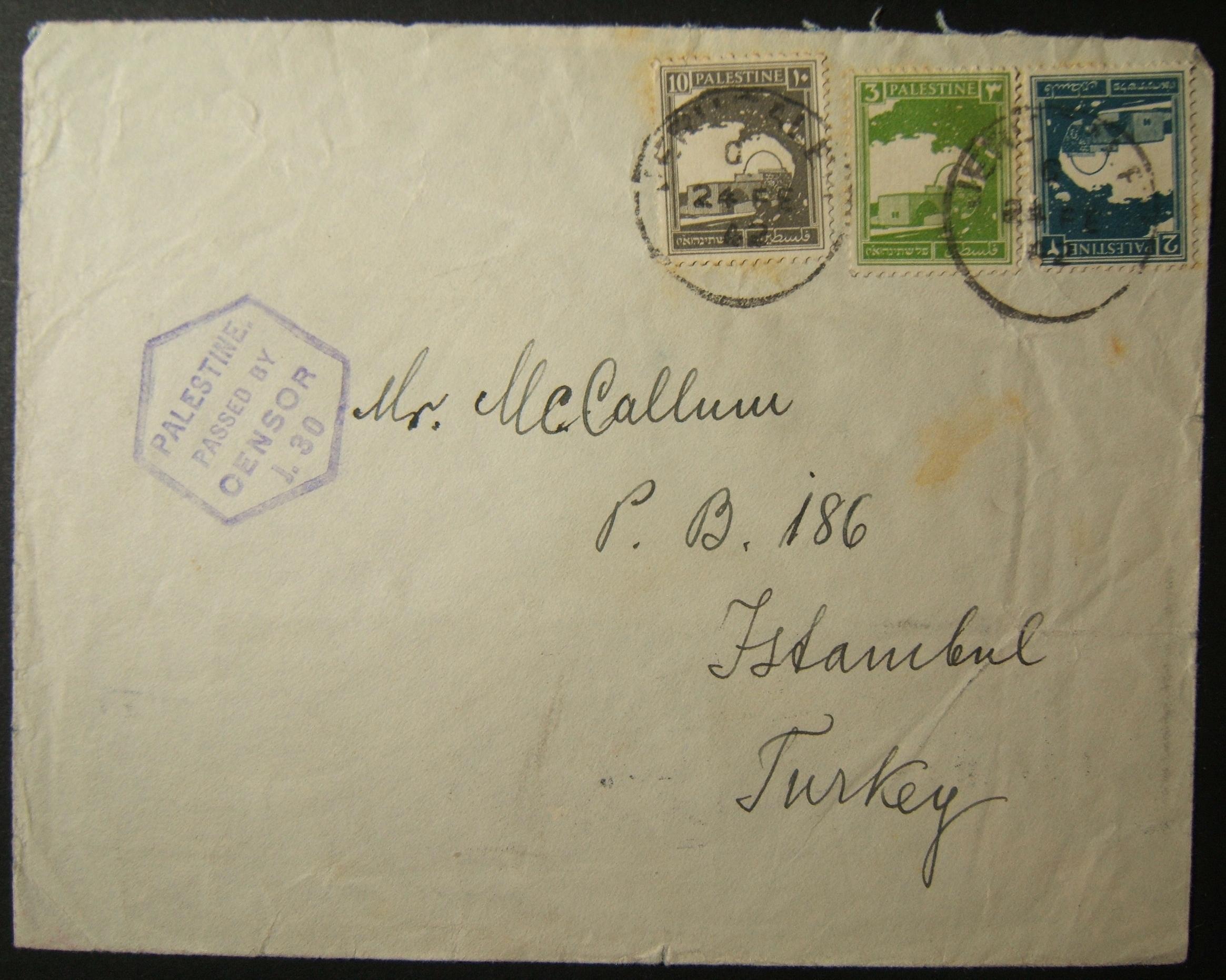 2/1942 WWII Mail von JERUSALEM an die verdeckte Adresse in ISTANBUL über ANKARA
