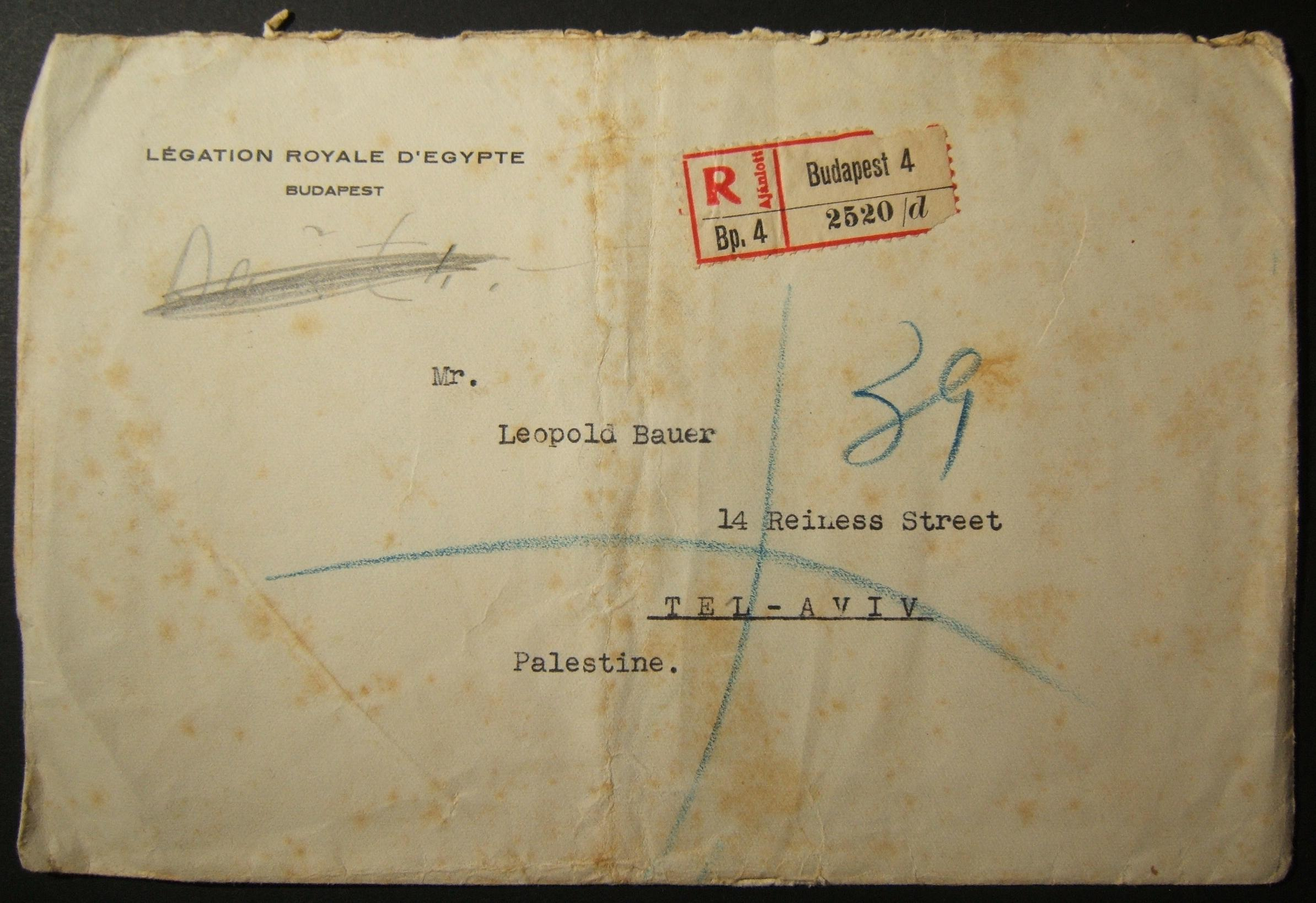 8/1939 Jewish refugee mail from Egyptian Legation BUDAPEST to TEL AVIV, with cachet