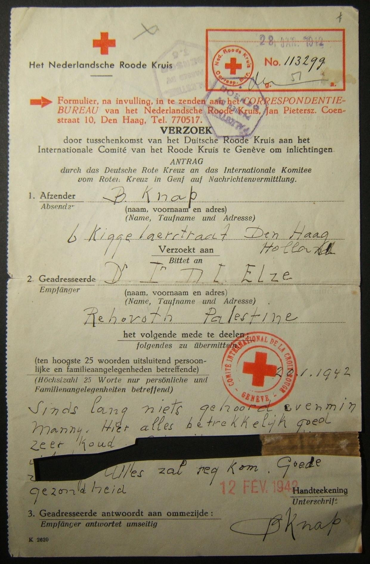 Wartime WWII/Holocaust-era incoming Red Cross mail: 28 JAN 1942 stampless Dutch Red Cross contact form with 25 word message dated 20 Jan, from THE HAGUE to REHOVOT, dispatched with