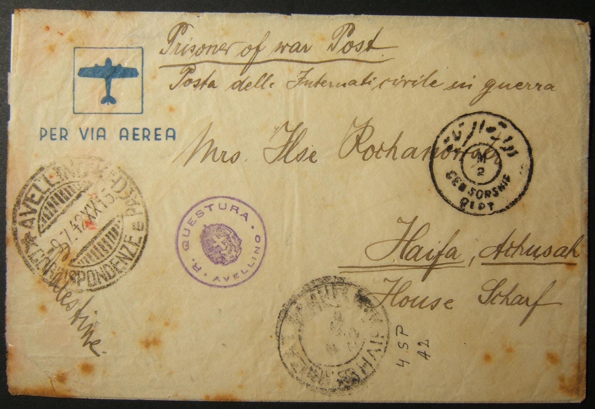 7/1942 דואר אלקטרוני של מעפילים יהודיים מצונזרים, רב-מצונזר, מאיטליה ועד חיפה באמצעות עמדת שבויים