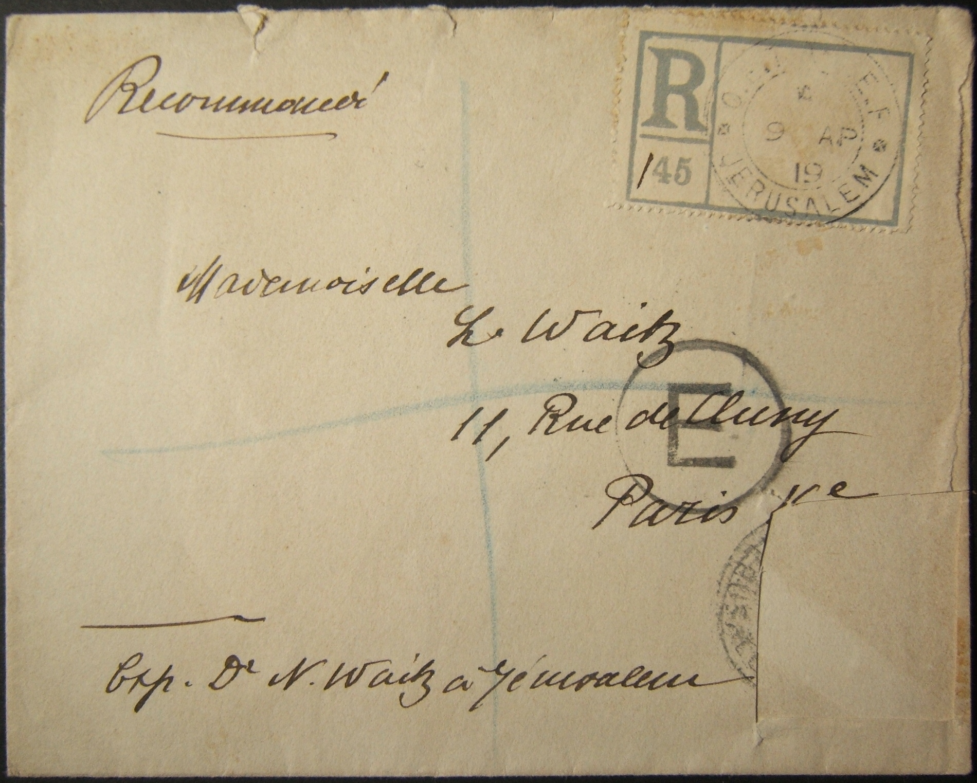 4/1919 rare E in circle censor handstamp on registered mail from JERUSALEM to PARIS