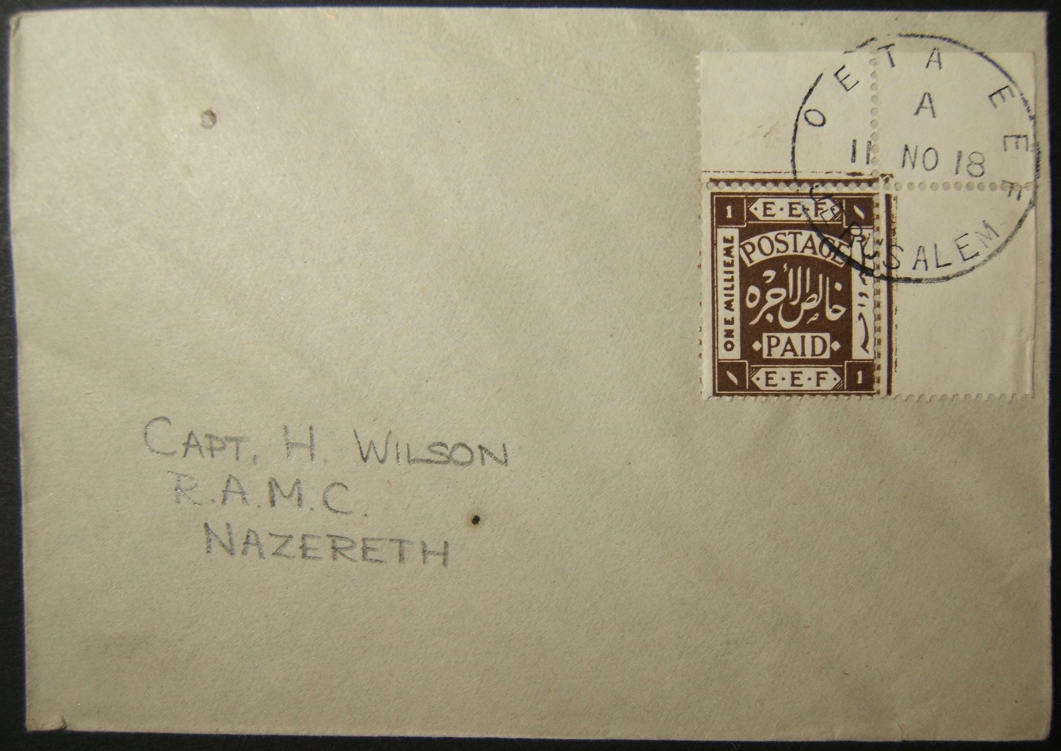 نادرة 1918 1m بريد إلكتروني من مواد مطبوعة من القدس إلى الجيش البريطاني في الناصرة