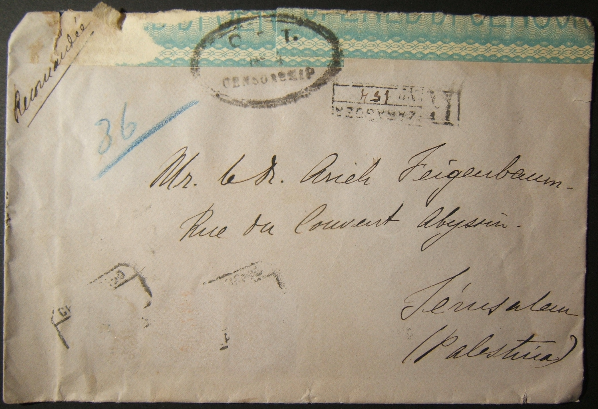 9/1919 undocumented OET #4 CENSORSHIP cachet on mail from Spain to JERUSALEM