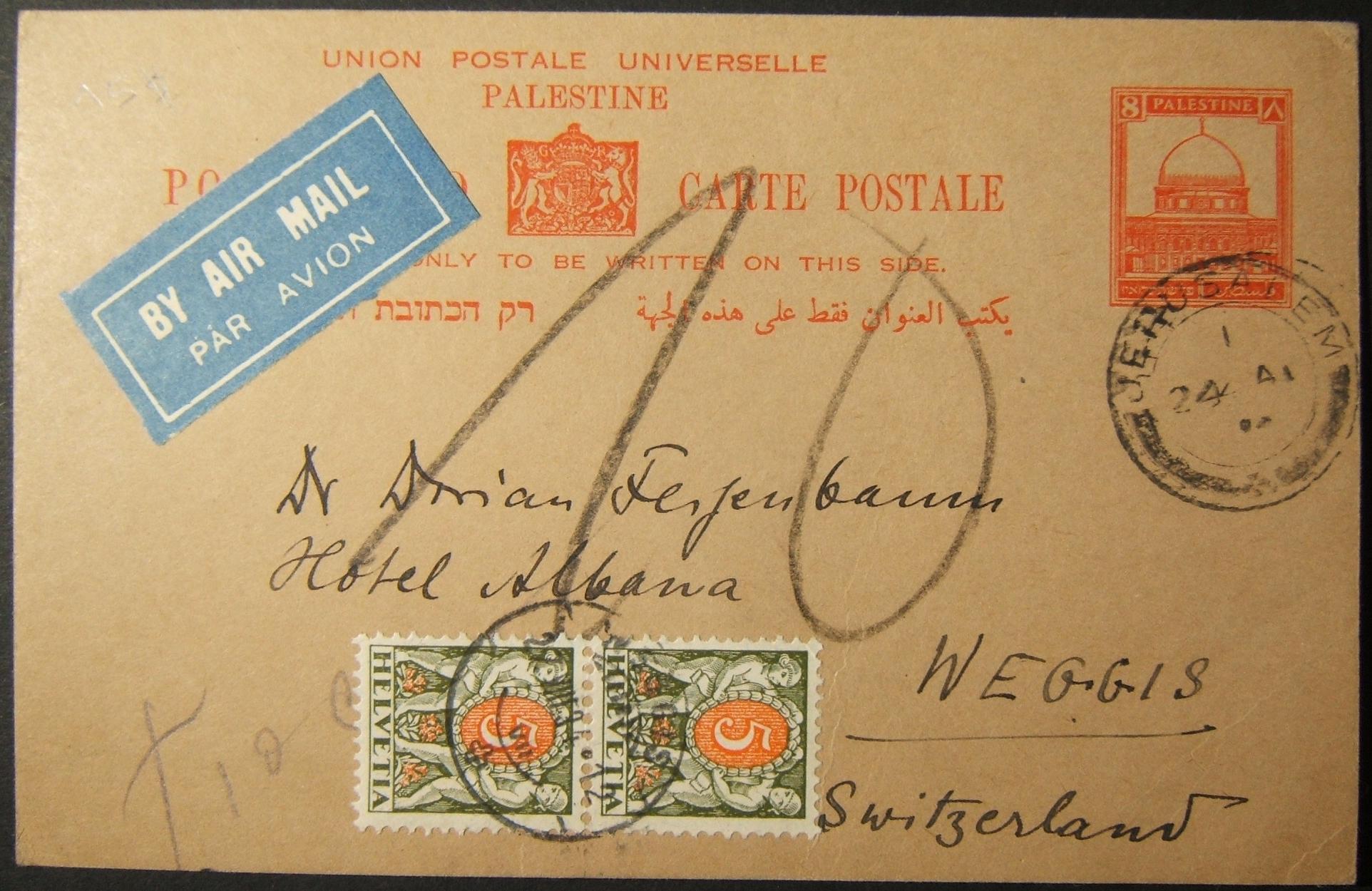 8/1934 גלויה של איירפראנקד איירלייף מירושלים והוטל עליה מס בשוויץ