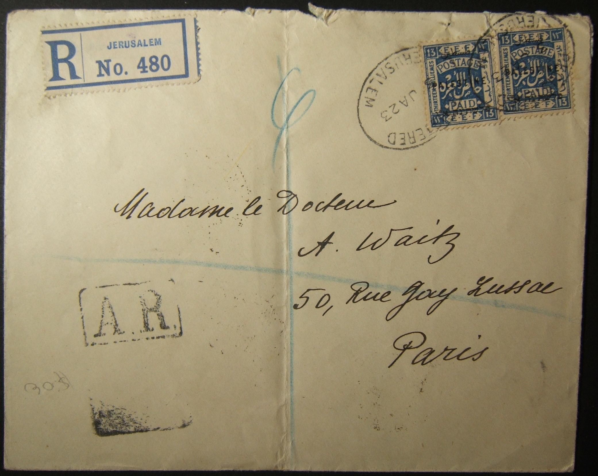 1/1923 אוויס קבלת דואר מארץ ישראל לצרפת באמצעות דואר רכבת + סימן דואר עות'מאני