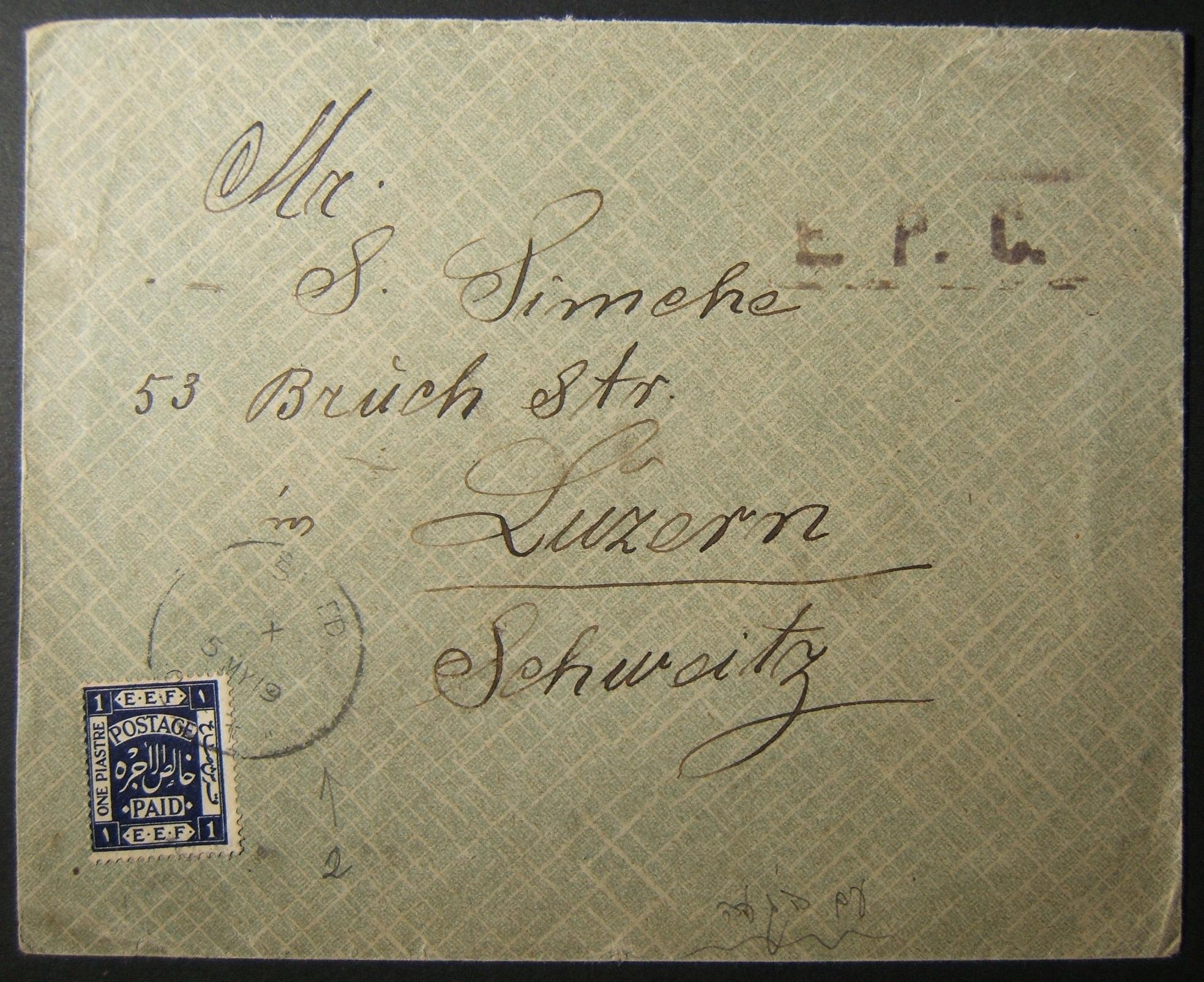 5/1919 نادرة ختم بريد إلكتروني OETA على 1 قروض فرانك فرض رقابة البريد إلى LUZERN