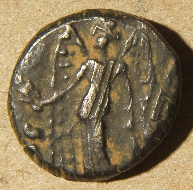 Greece > Arabia > Nabataea: Aretas II, 110-96 BCE; size: 13.5x16.5mm; weight: 3.75g. Helmeted head of Athena right / Nike standing left, holding wreath - appears to be overstruck o