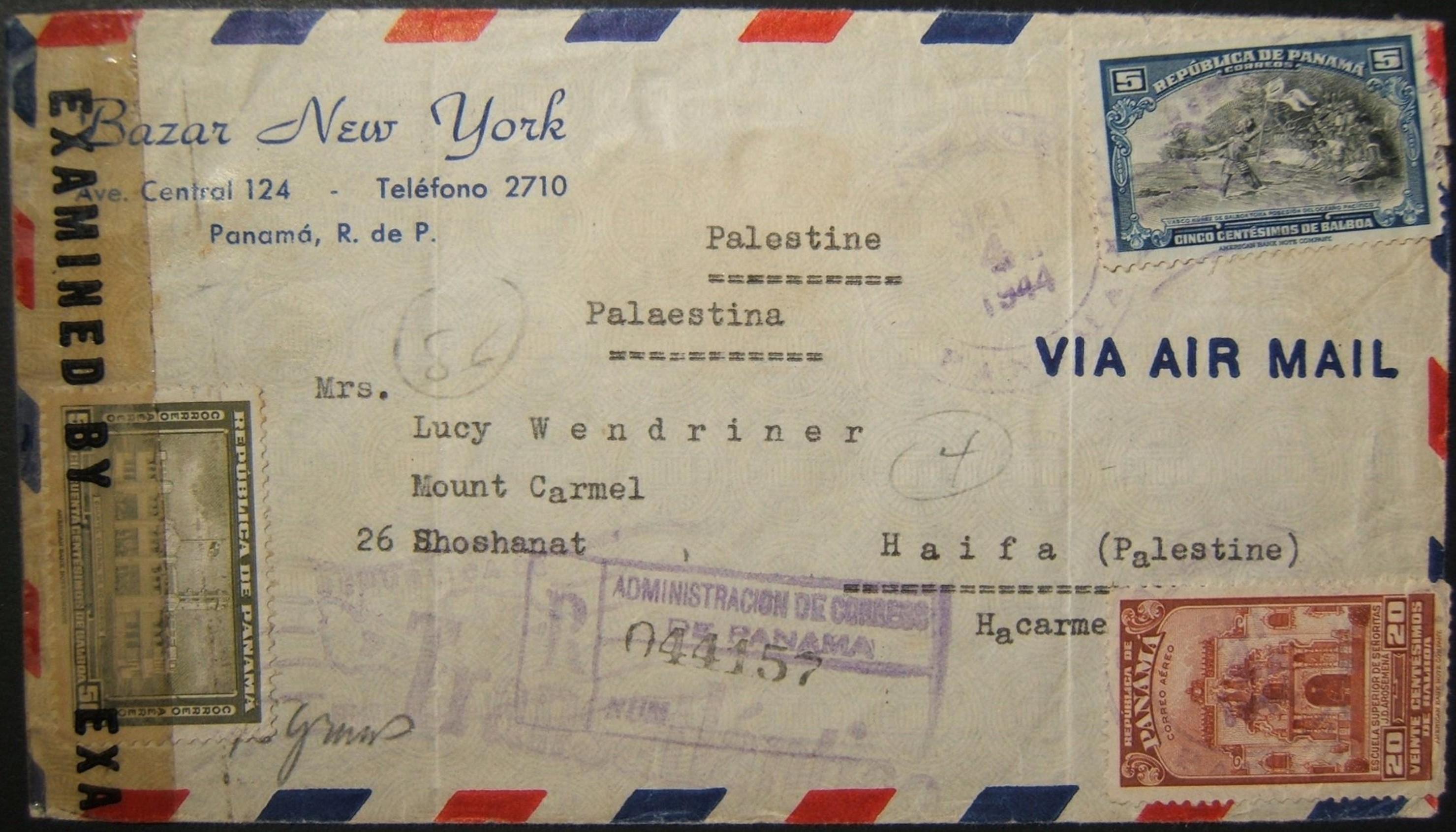 9/1944 الحرب العالمية الثانية عبر المحيط الأطلسي من بنما إلى HAIFA عبر MIAMI ؛ غير خاضعة للرقابة