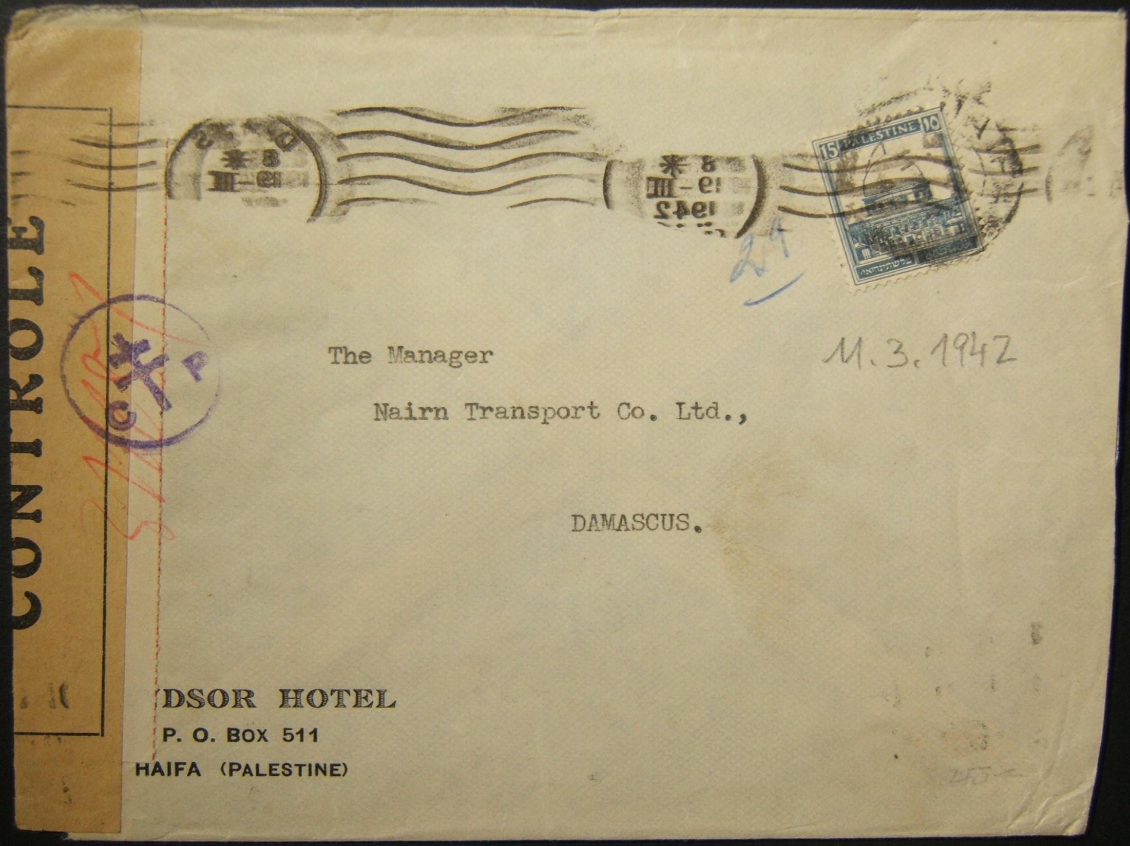 11/1941 מלחמת העולם השנייה דואר מזרחה של דואר יוצא מחיפה ל- DAMASCUS דרך BEIRUT
