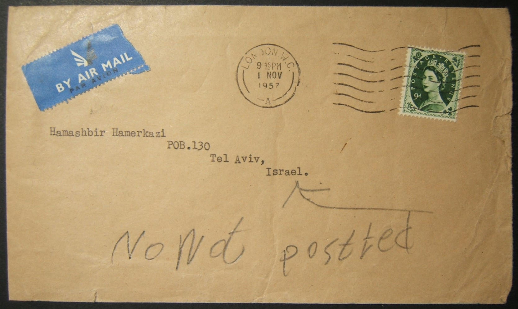 11/1957 British airmail to TEL AVIV mis-routed via Iraq; refused service & returned