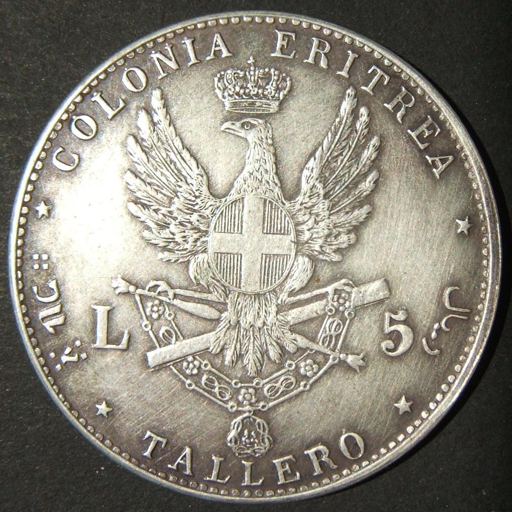 Eritrea: 5 Lire/Tallero 1891; obv. right-facing Umberto I w/leg. UMBERTO I RE D'ITALIA; rev. eagle w/coat of arms in center, value on either size & below + leg. COLONIA ERITREA abo