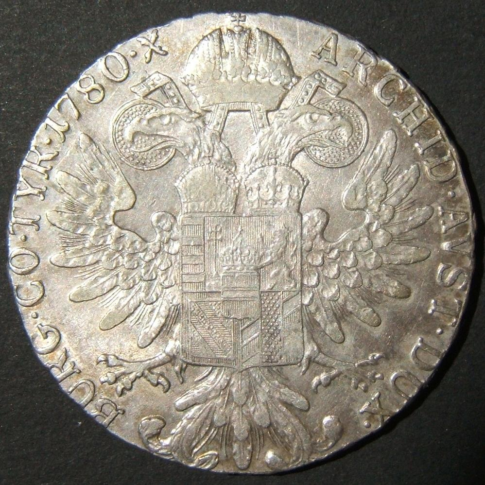 Austria: Maria Theresa silver thaler restrike variant, dated 1780 S.F.; size: 39.5mm; weight: 28g. Lacking rim frame. Lettering c. 2.5mm high. With 2 dots between