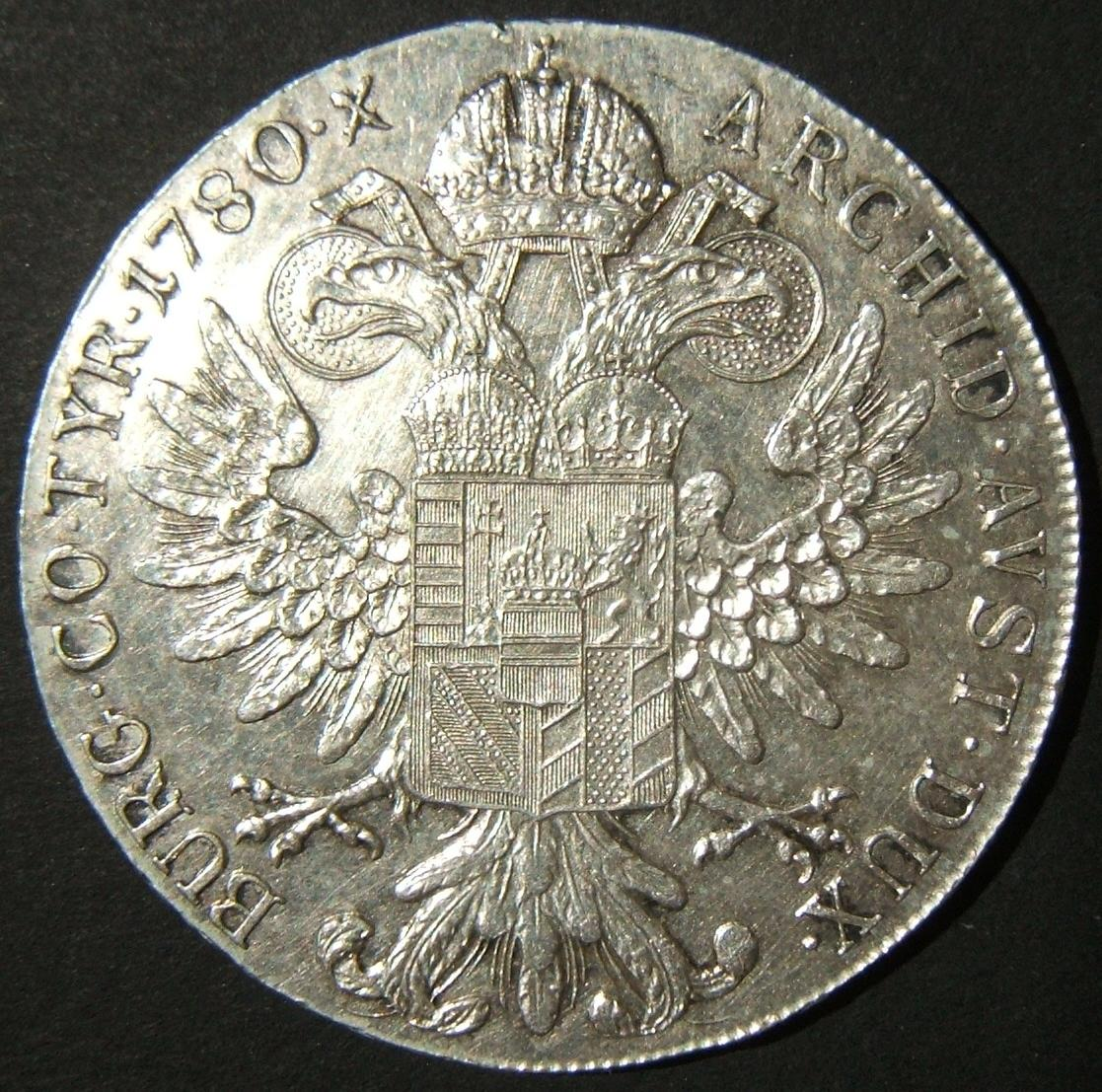 Austria: Maria Theresa silver thaler restrike variant, dated 1780 S.F.; size: 40.75mm; weight: 27.85g. With milled rim frame. Lettering c. 2.25mm high. With 2 dots between