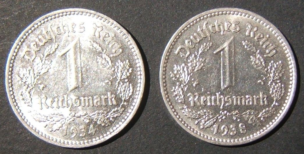 Germany lot x2 high-grade silver Reichsmarks (KM# 78): 1934A in UNC & 1938G in BU with full detailed incused edge design; est. value $260+