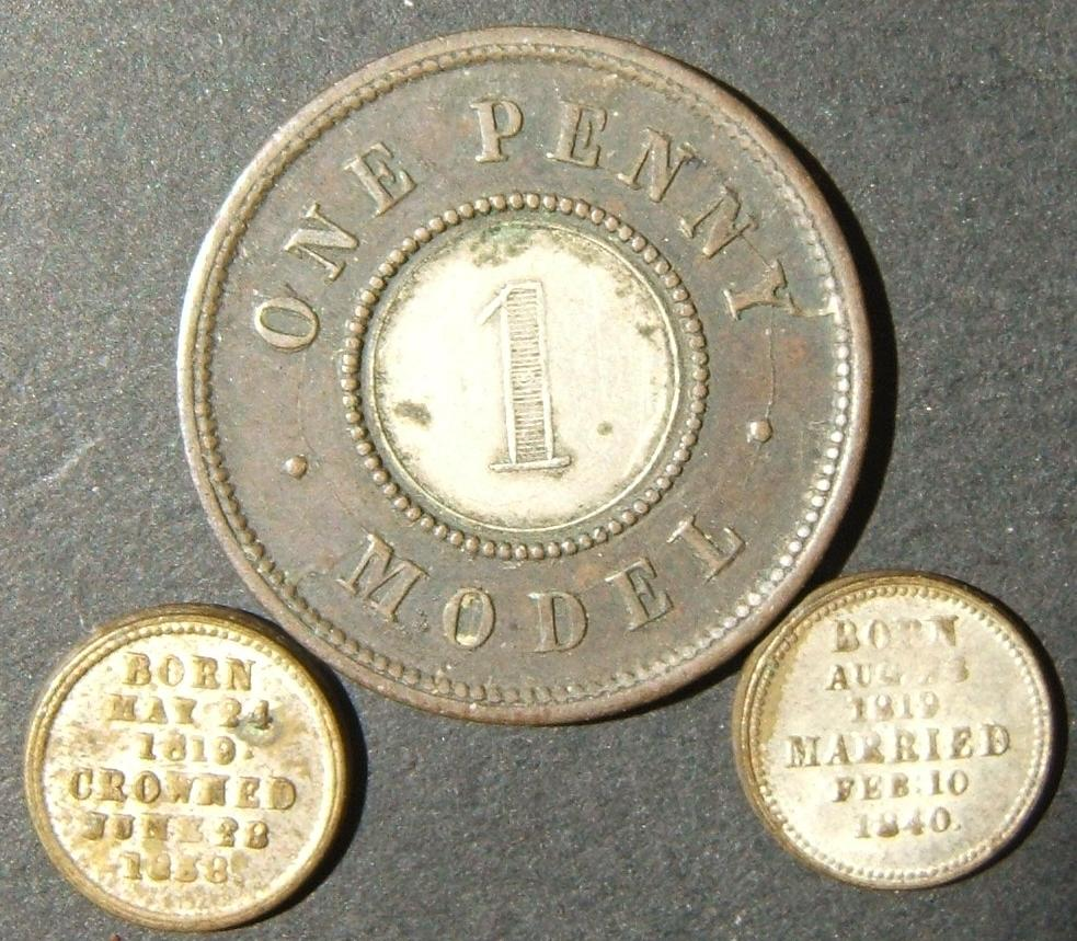 Britain lot x3 Victoria-era tokens: a)