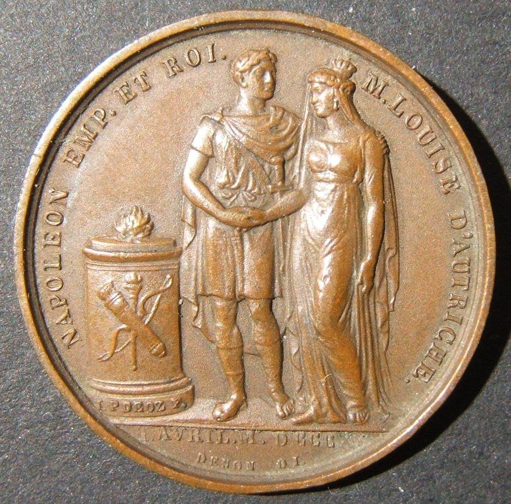 France: bronze bas relief medal commemorating Napoleon's marriage to Marie Louise, 1810; by F. Galle (Andr� Galle) & Dominique Vivant Denon; size: 27mm; weight: 7.6g. Obv. Napoleon