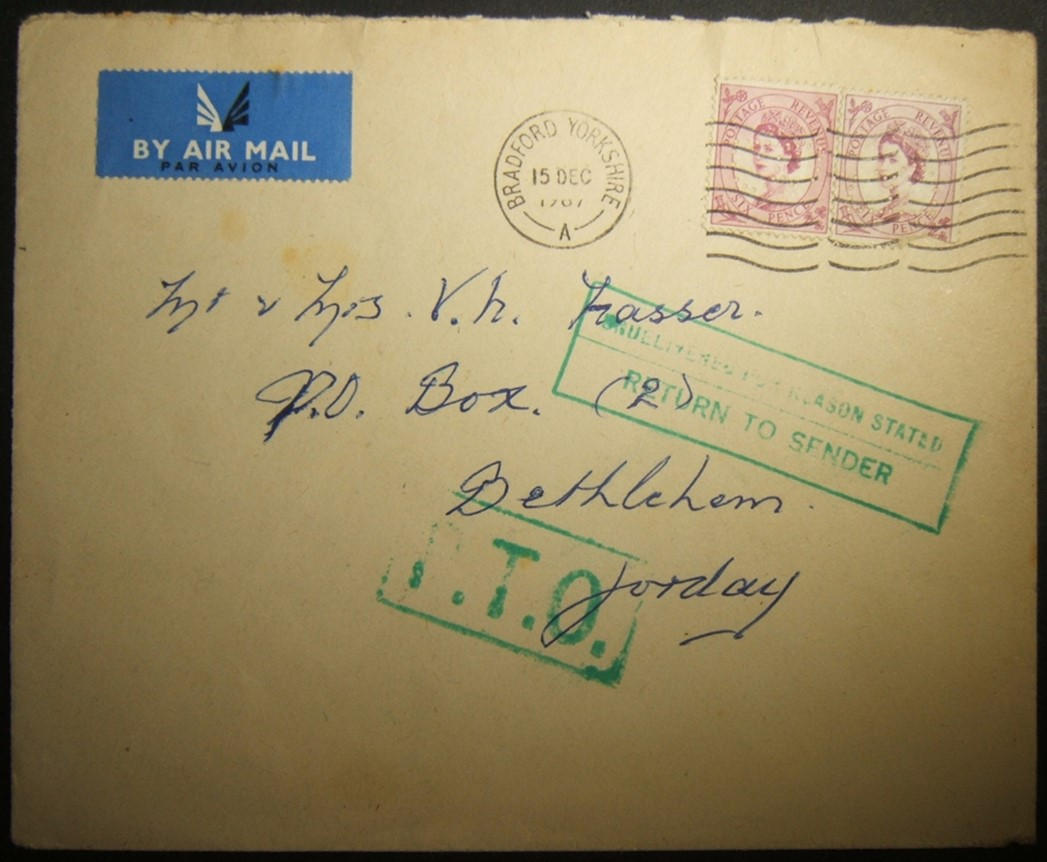 1967 earliest known mail to formerly Jordanian territory returned by Jordan, from UK