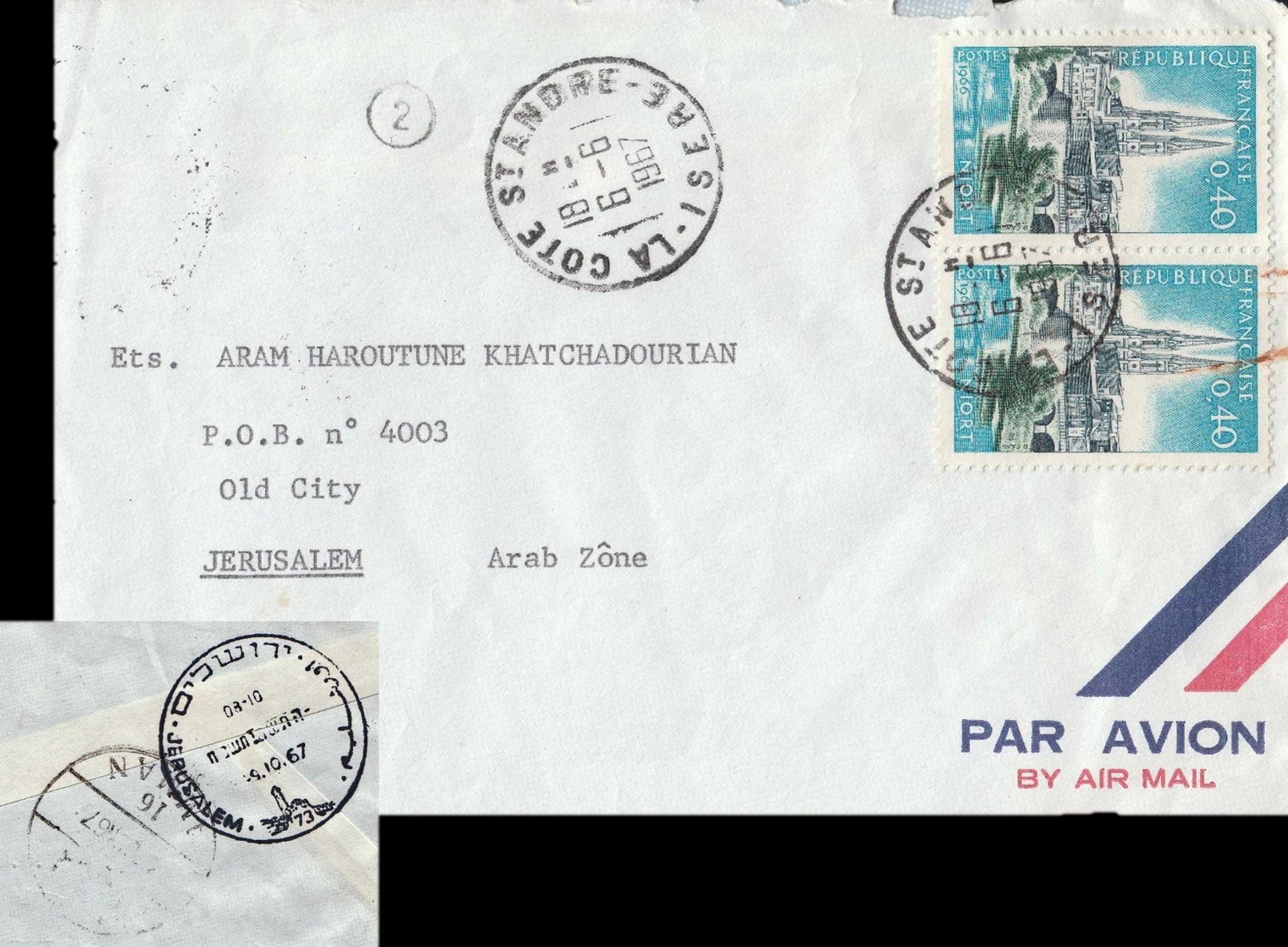 Jordanian start & post-1967 War mail to Israel via Red Cross: 6-6-1967 airmail cover from LA COTE ST ANDRE France to Old City JERUSALEM