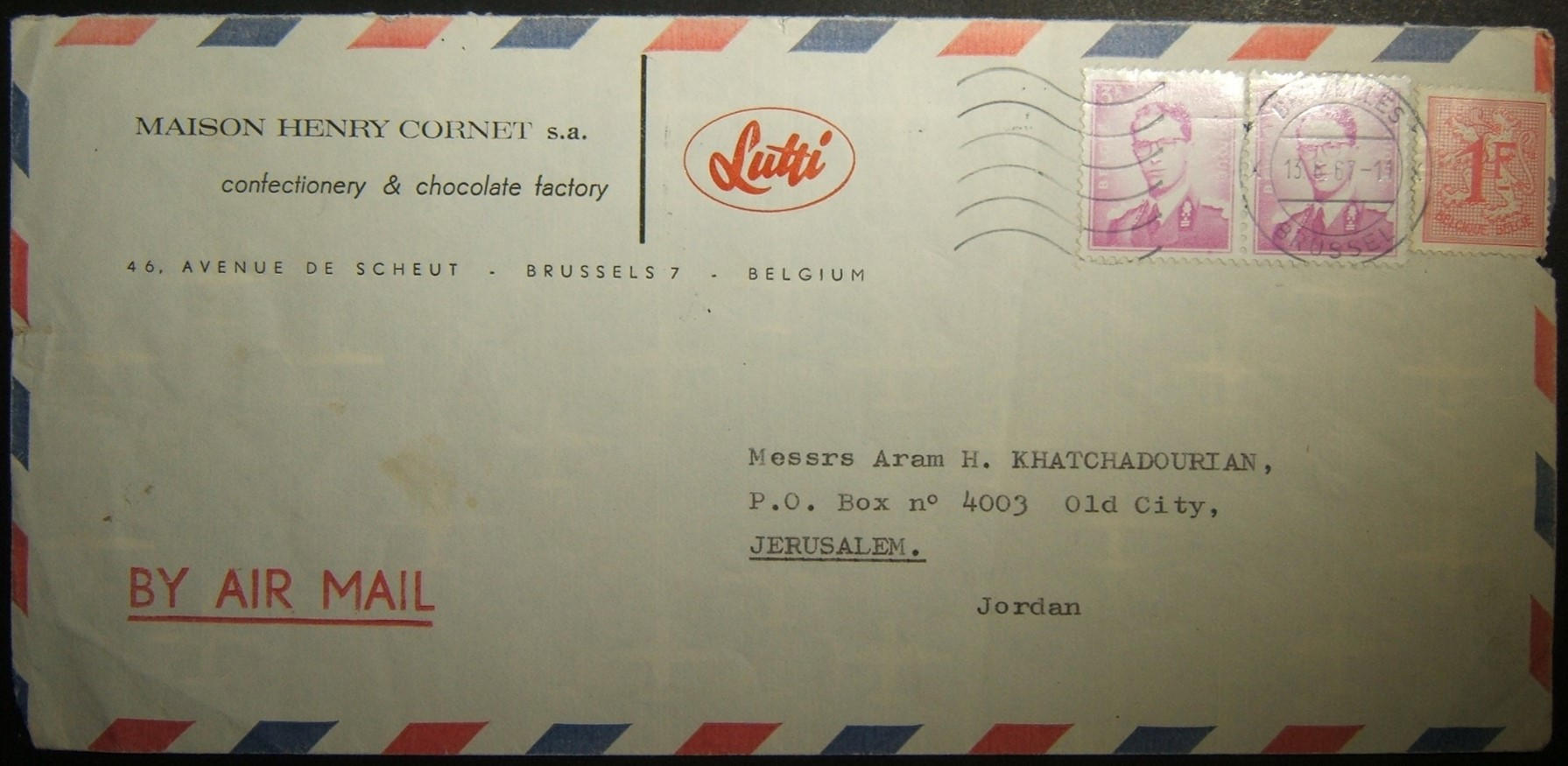 6/1967 Belgian airmail to Jordanian JERUSALEM, withheld & transfered to Israel by Red Cross