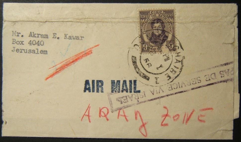 1/1956 الأتراك الإيرلندي إلى الأردن تم توجيهه عبر إسرائيل ؛ رفض الخدمة ، عاد ؛ استاء