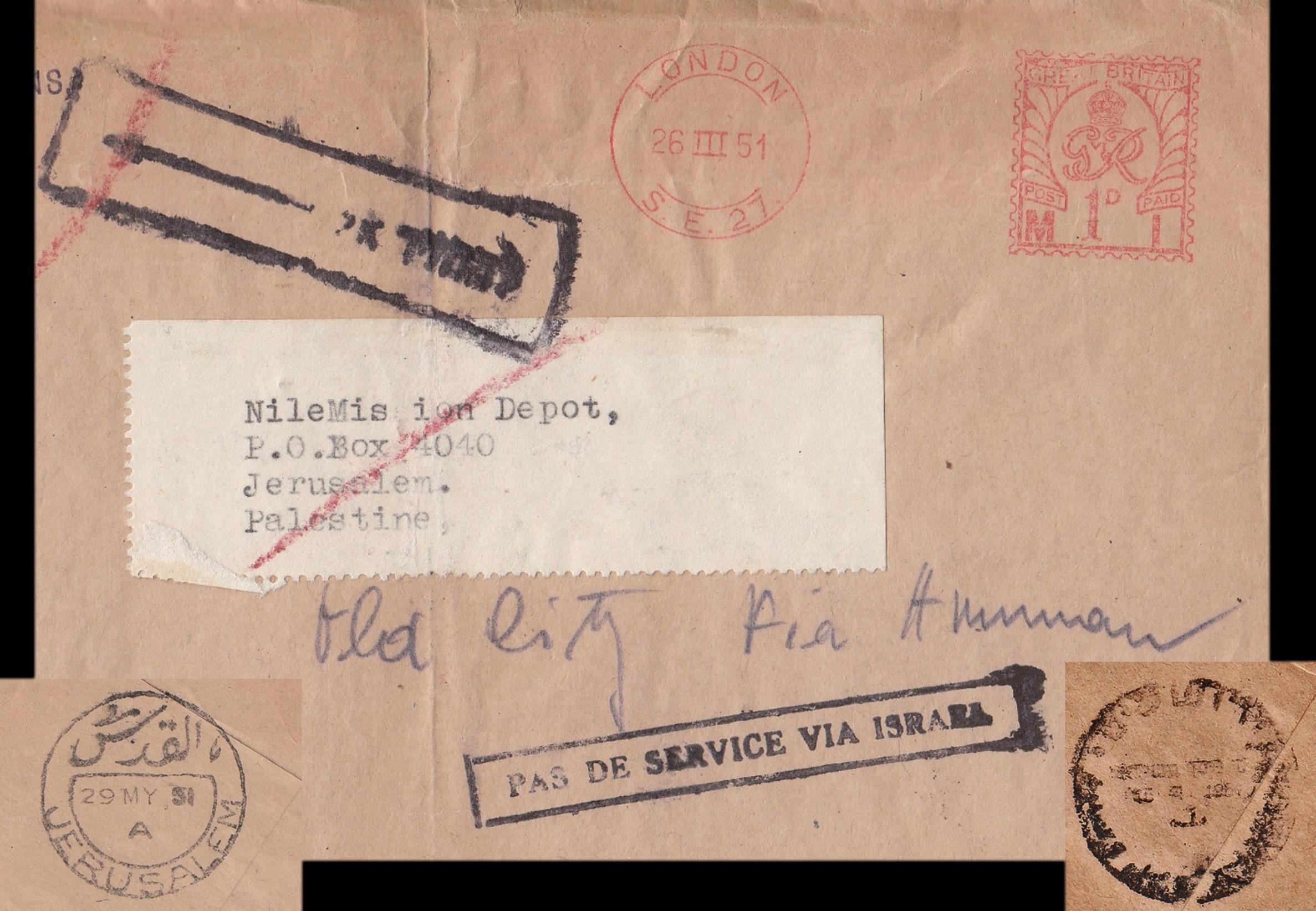 3/1951 بريد إلكتروني للمملكة المتحدة في شرق القدس عبر إسرائيل حيث عادت. استاء