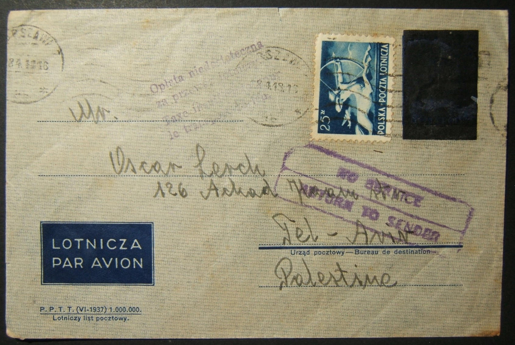 4/1948 Polish airmail to TEL AVIV affected by British mail suspension to Palestine