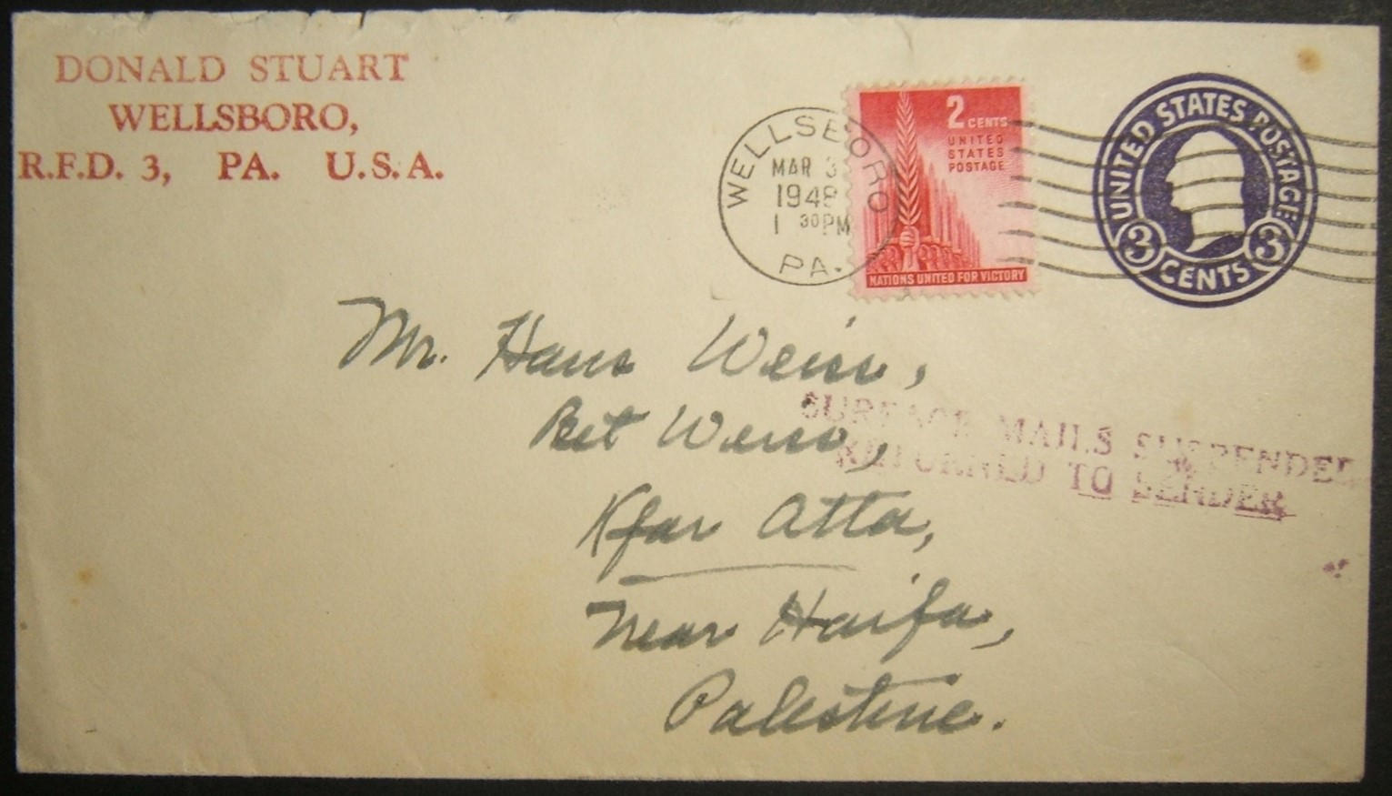 3/1948 American surface mail to Palestine affected by mail service suspension & returned
