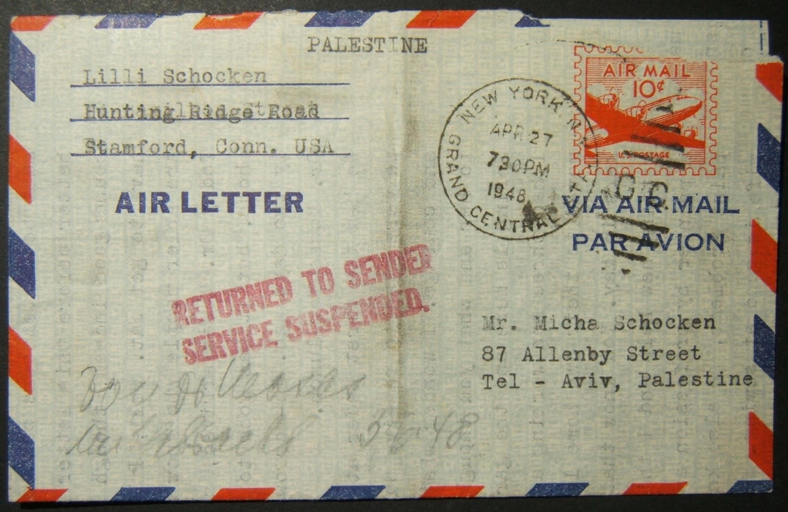 27-04-1948 earliest dated US airmail affected by postal suspension to Palestine