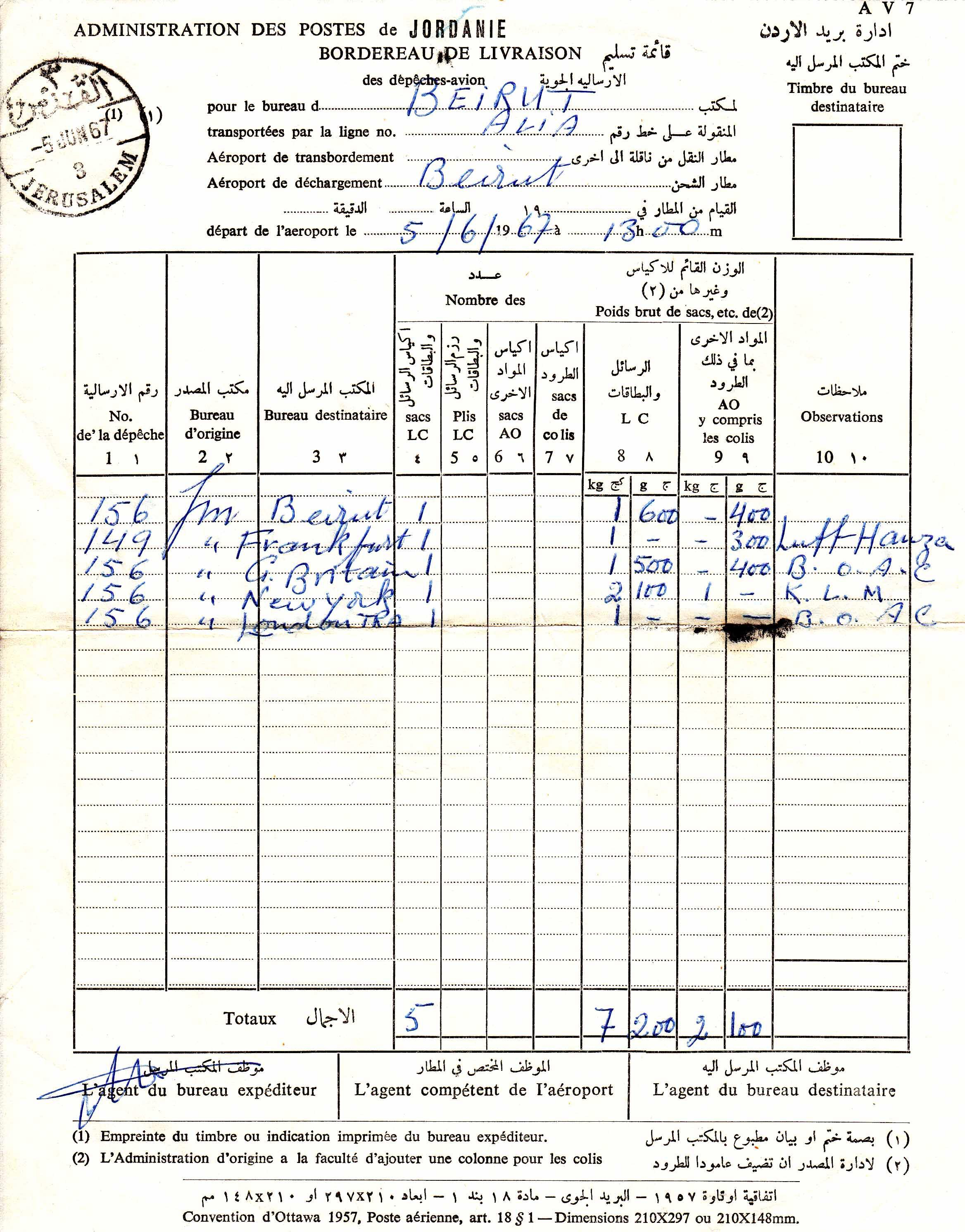 Israeli captured Jordanian mail document for airmail dispatches on day 1967 War began