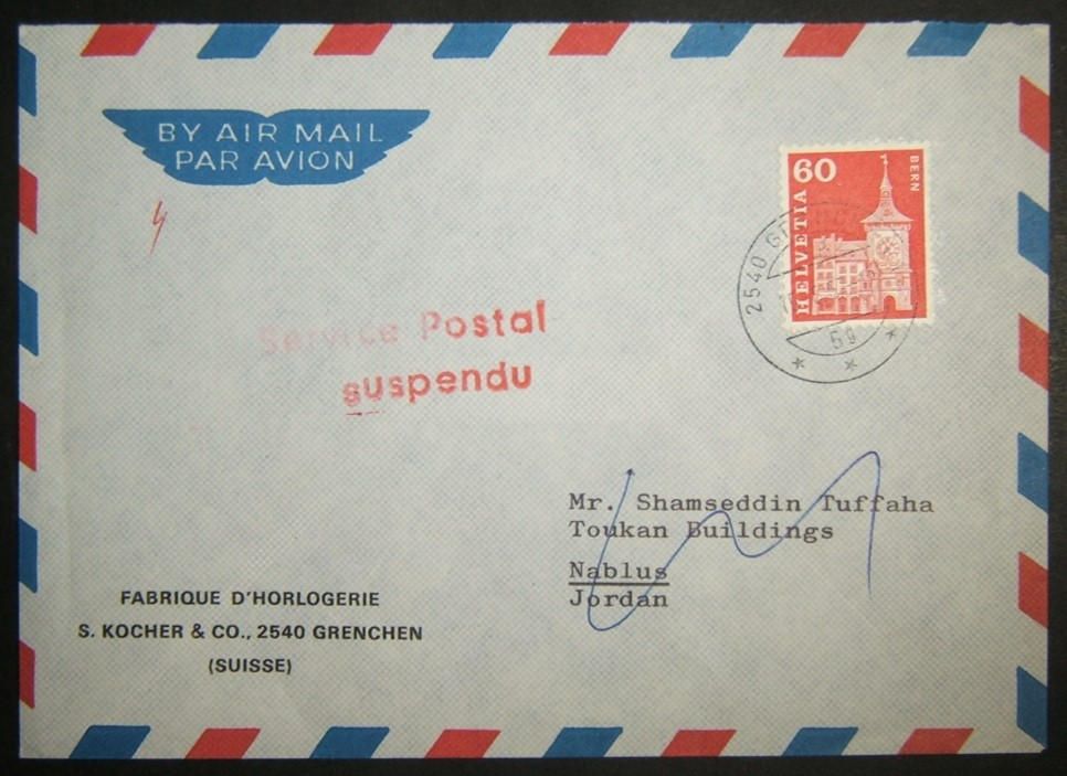 1967 War Swiss 'suspended service' mail to Jordan, refused service due to war