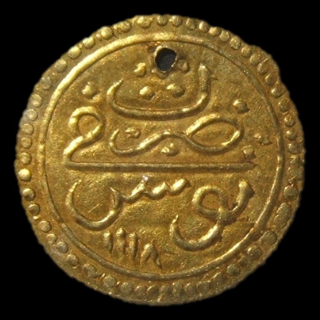 Ottoman (Tunisia) gold 1/2 Sultani (hammered coinage) dated 1118 (1706-07), Ahmed III era, 17mm; in EF & pierced. Beeded edge, bisected obv. & 4-line leg. rev. Unlisted in Krauss